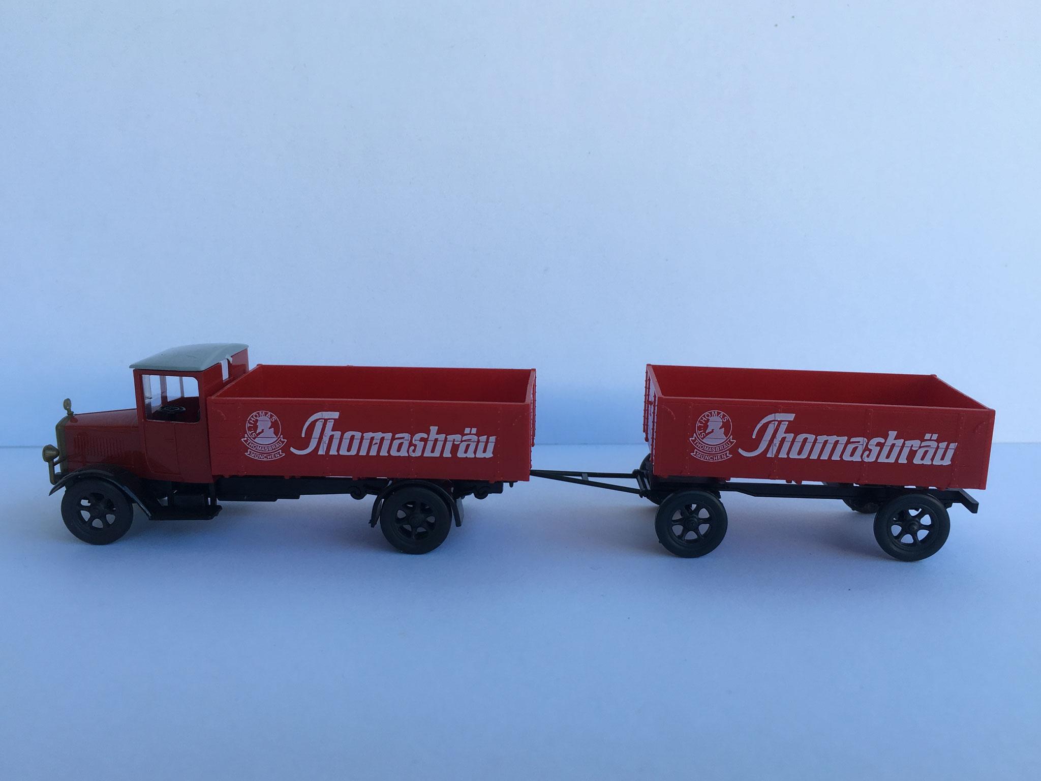 Mercedes L5 Brauereifahrzeug Thomasbräu mit Anhänger, rot