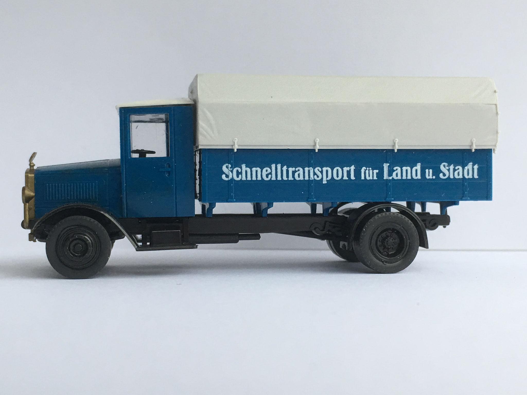 """Mercedes L5 Pritschenwagen """"Schnelltransport"""", blau, Art. Nr. 314.00 (von Wiking ab 1993/94 unter dem Label Roskopf im Programm)"""