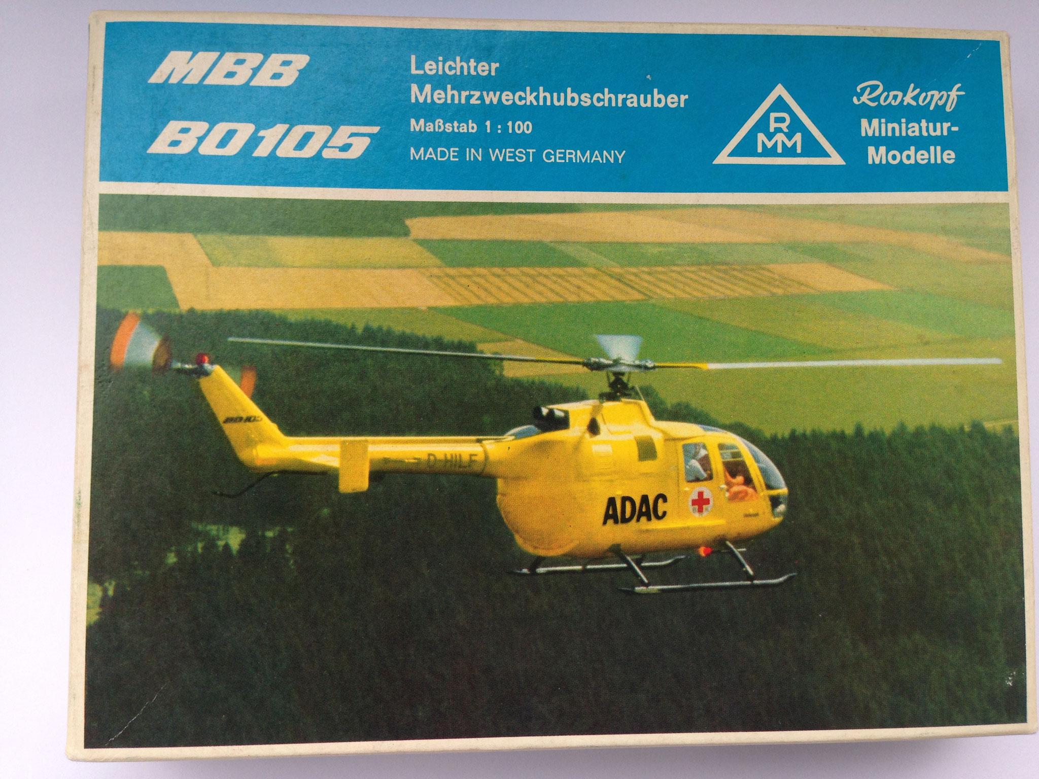 ADAC Rettungshubschrauber BO 105, Bausatz, Art. Nr. 33 (ab 1974 im Programm)