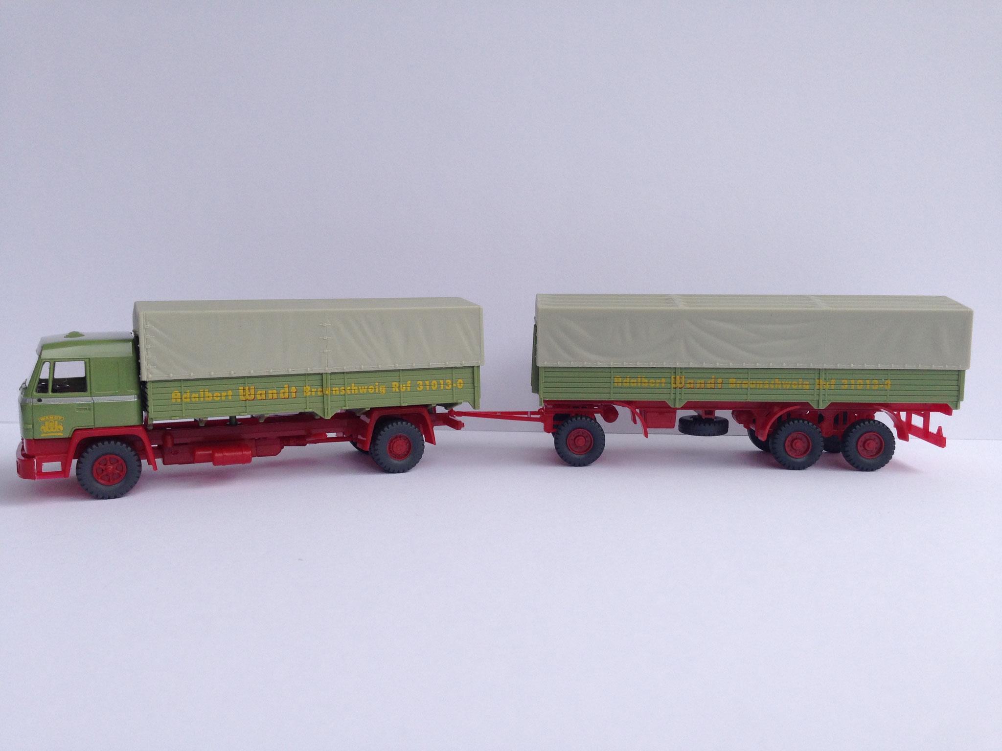 Wandt 2-Achser mit 3-Achs-Anhänger,  Pritsche/Plane, Art. Nr. 617 (ab 1990 im Programm)