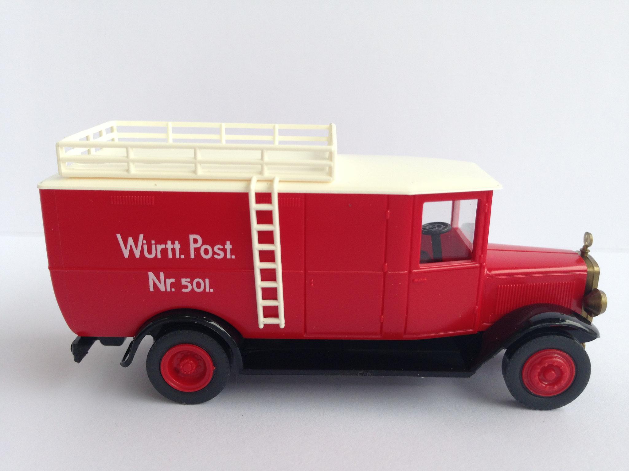 Mercedes L2 Kastenwagen Württ. Post, rot, Art. Nr. 264.01 (von Wiking ab 1997 unter dem Label Roskopf im Programm)
