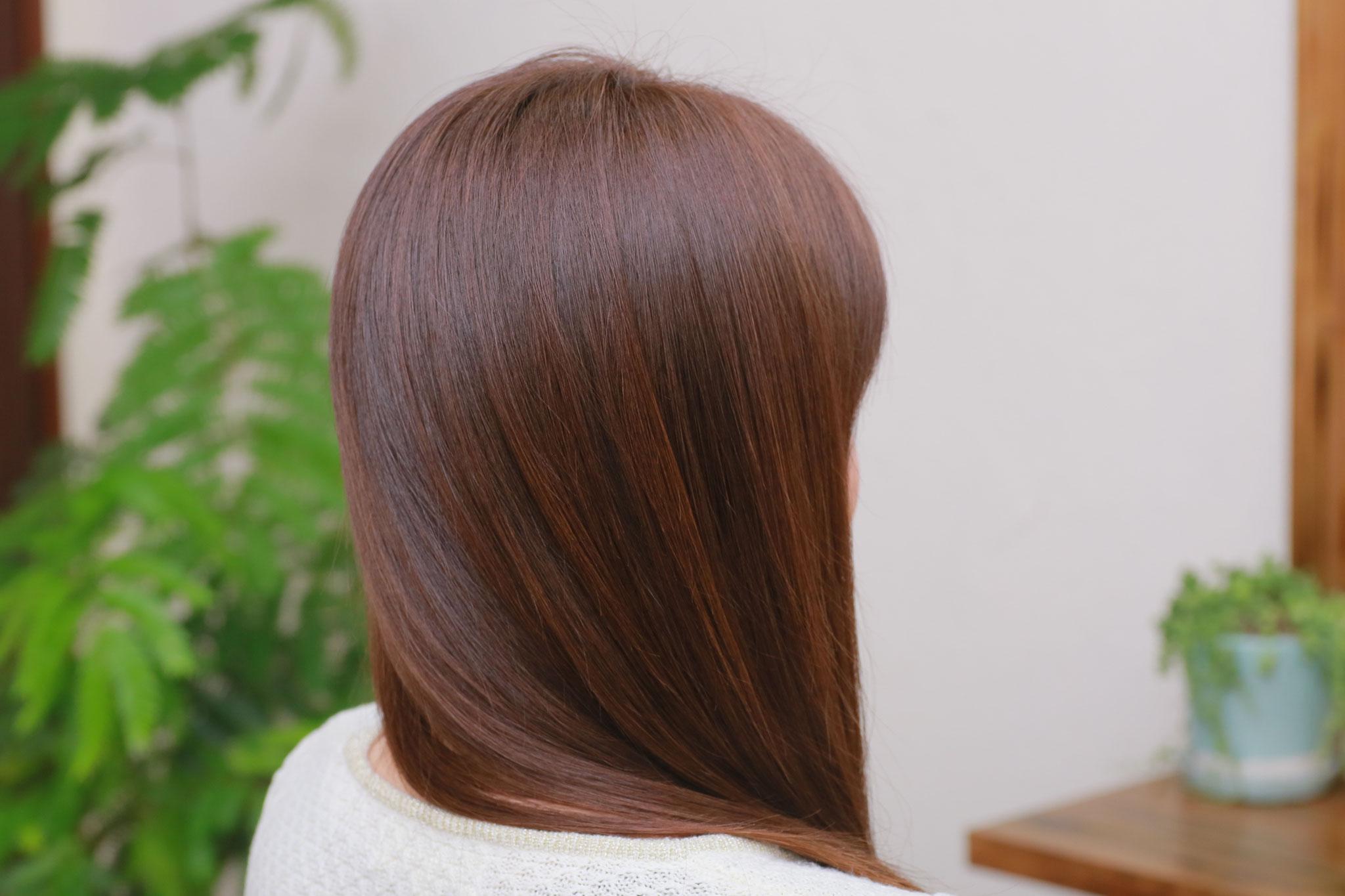 手順4:落ち着いたスタイリングのし易い髪に。