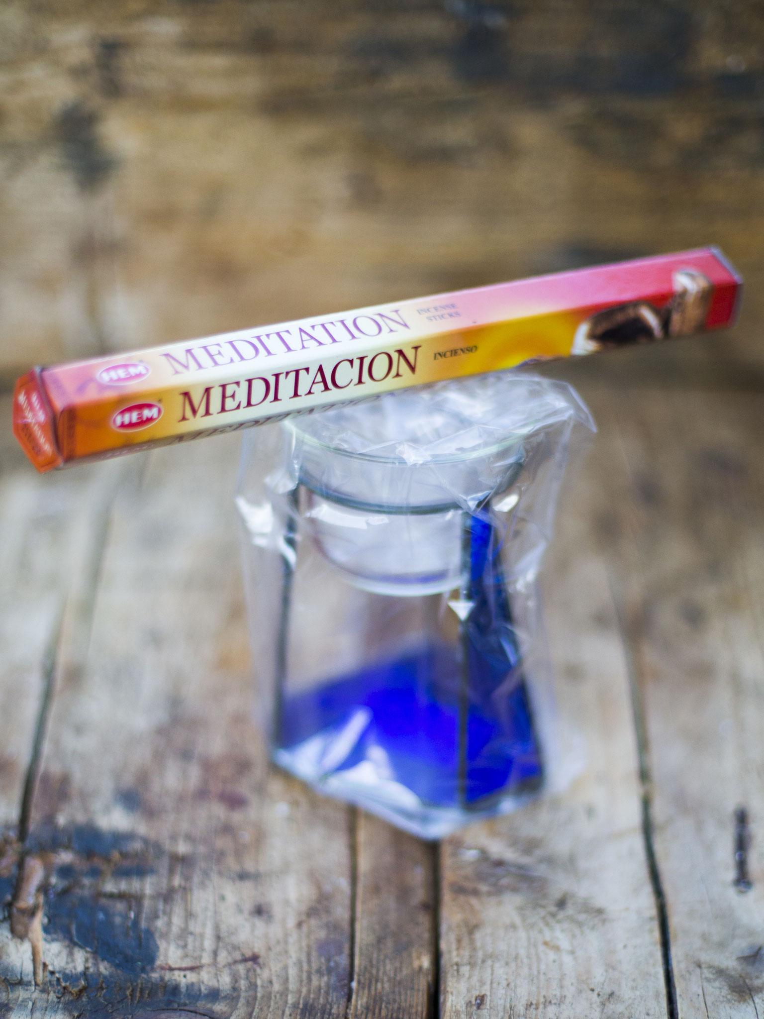 Glas in lood waxinelicht houder + wierook Meditation - Aangeboden door Jevaba