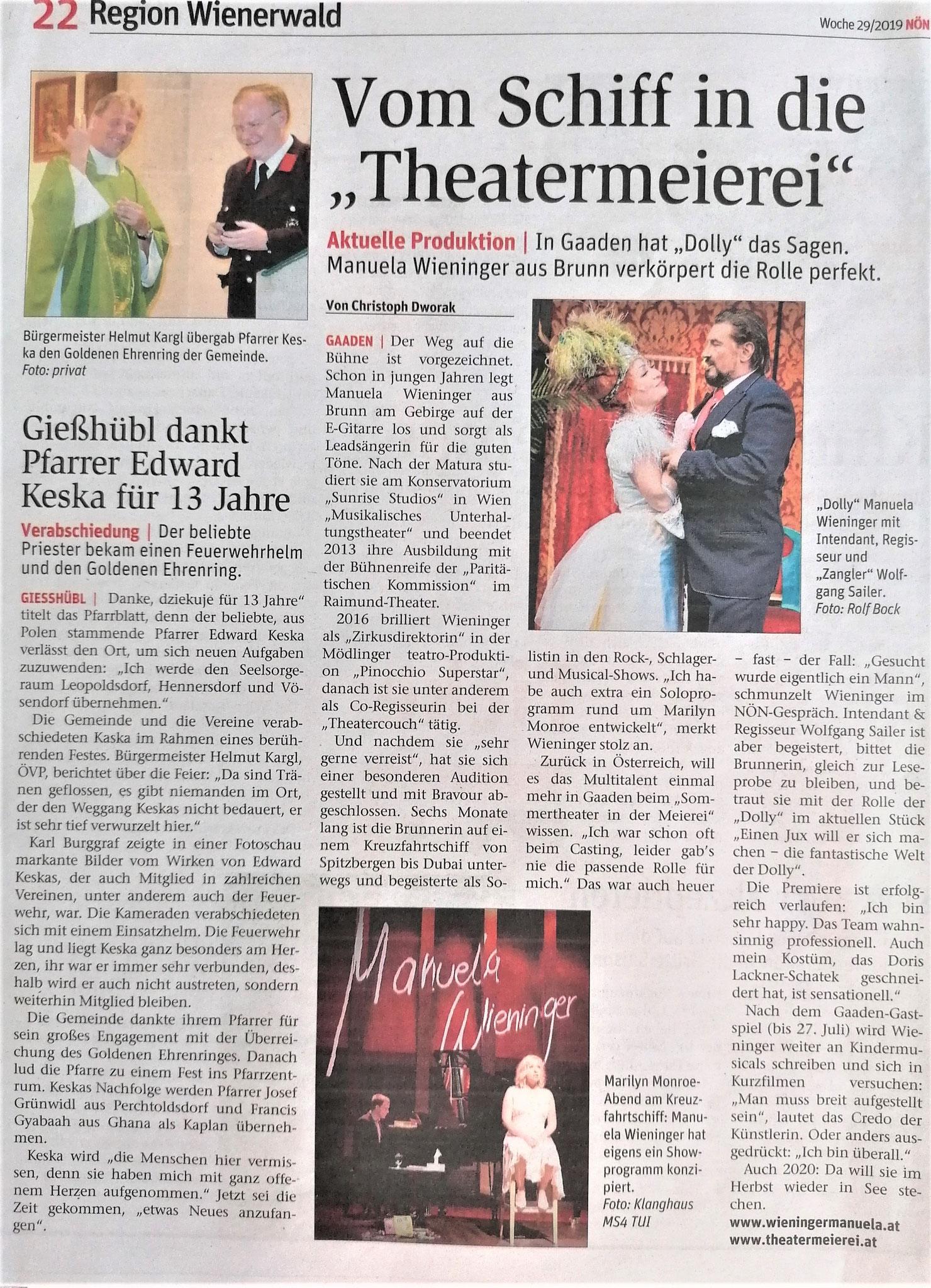 Niederösterreichische Nachrichten, Sommer 2019, Theatermeierei Gaaden