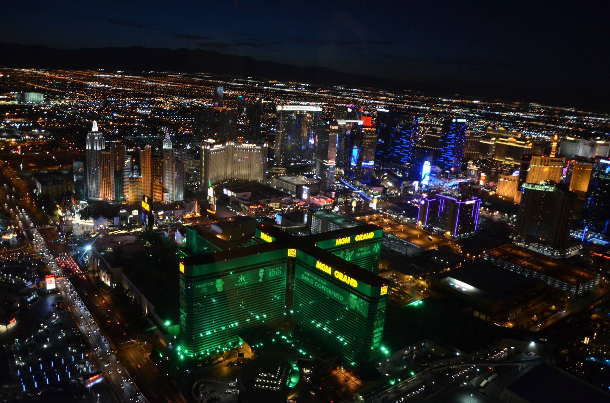 Aussicht bei der Helikopterhochzeit über dem Las Vegas Strip