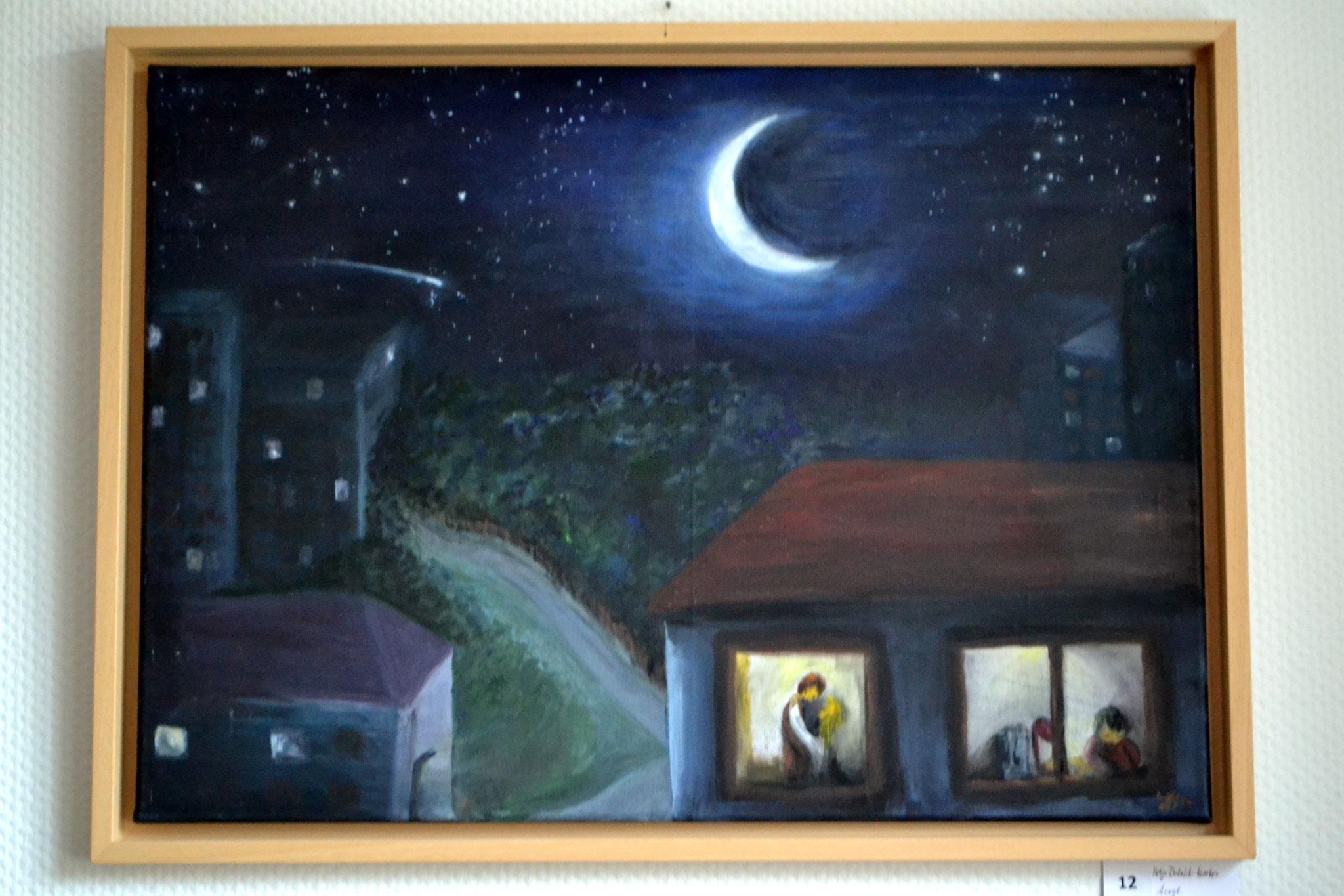 Nacht am Fenster, Acryl a.Lein, gerahmt, 50x70cm, 280€