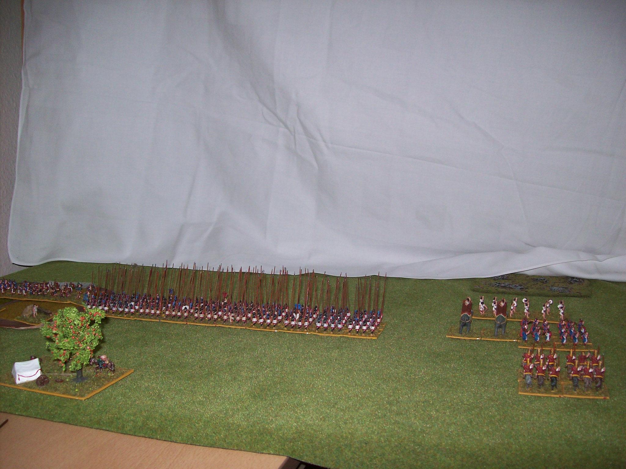 meine Armee vor der Nebelwand, hinter der die meines Mitspielers steht