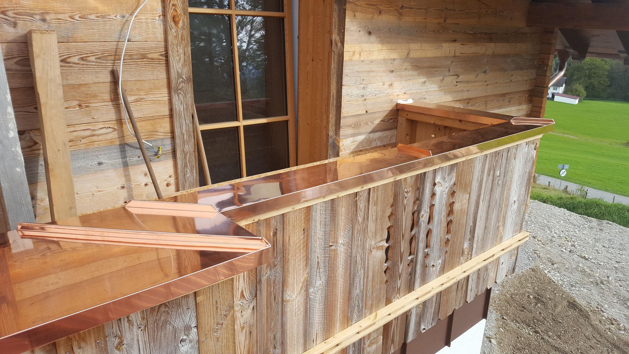 Balkonbrettabdeckung aus Kupfer