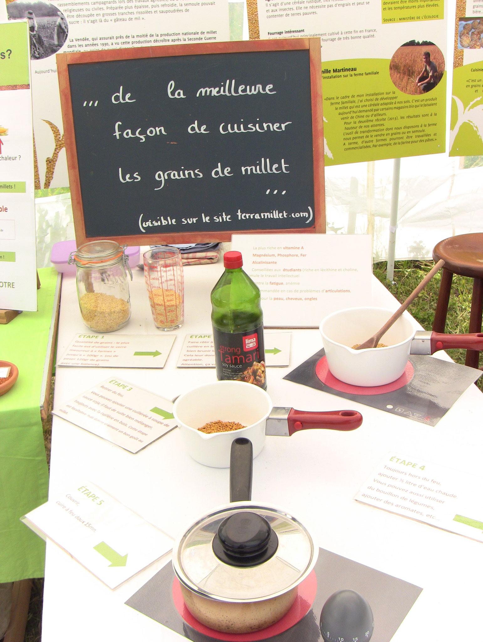 Nouveau sur notre stand, les étapes détaillées sur De La Meilleure Façon de Cuisiner les Grains de Millets