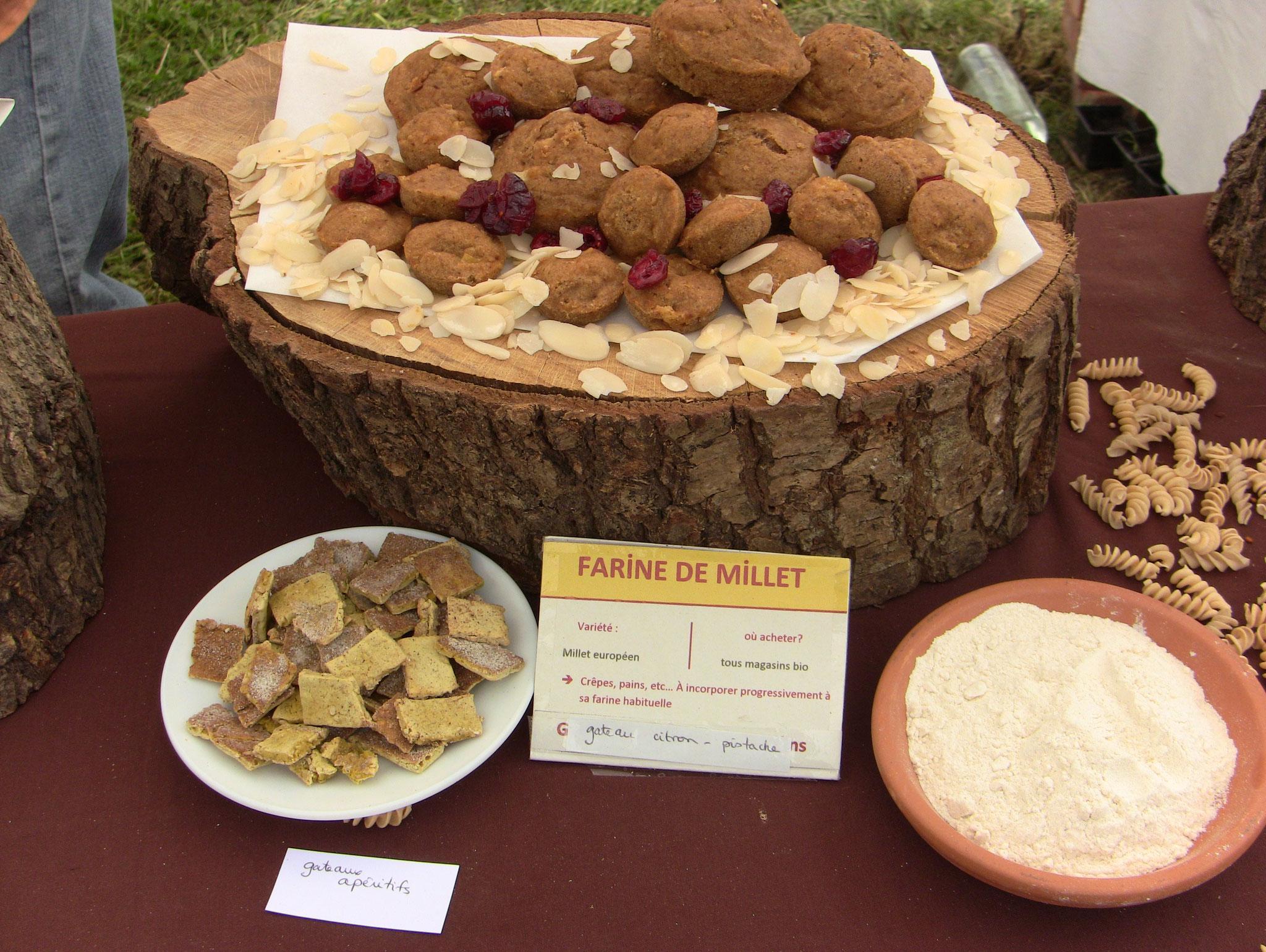 gateaux apéritifs au millet et gateaux au millet-pistaches-citron