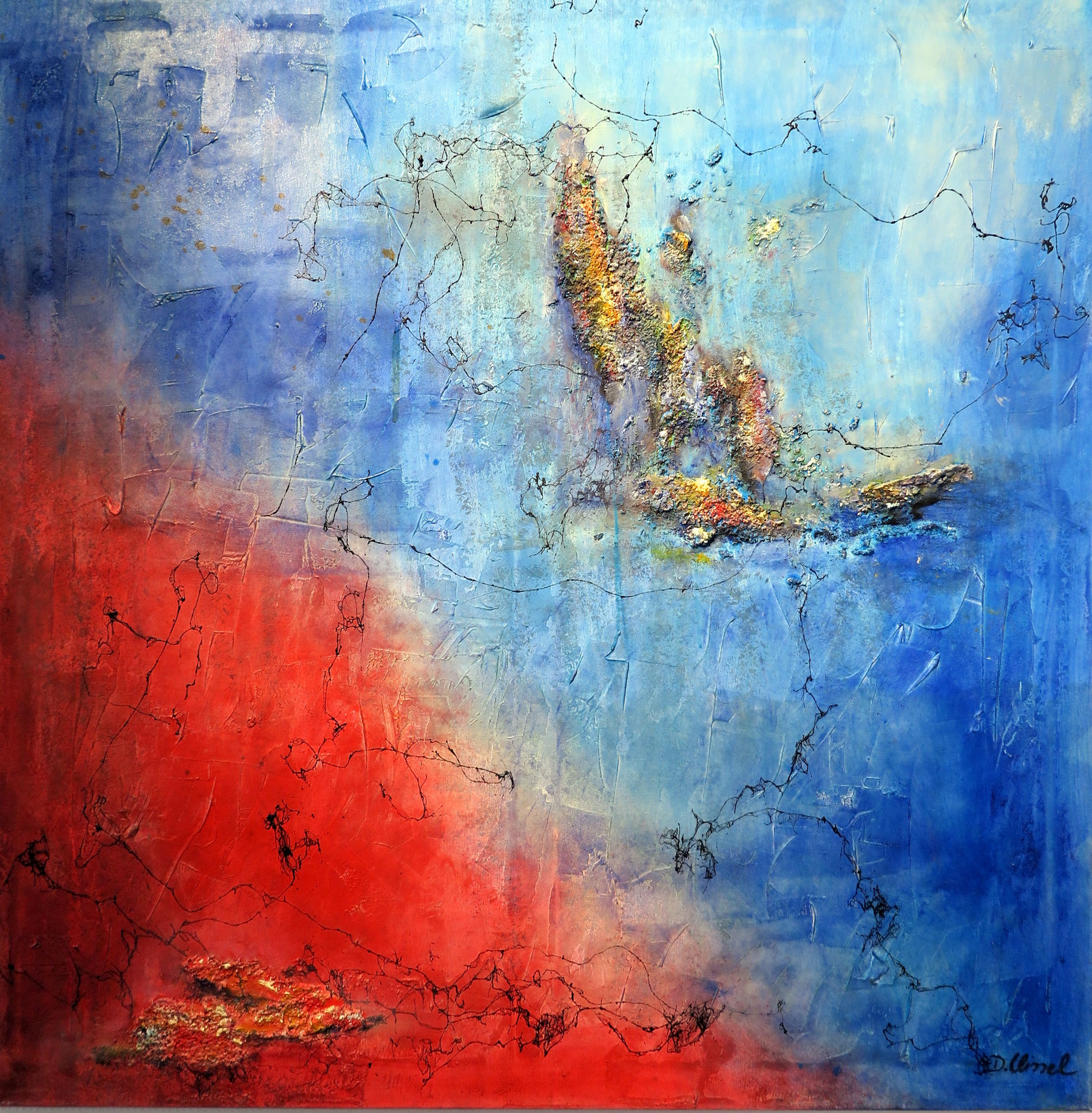 Rot-Blau 1 100 x 100 cm