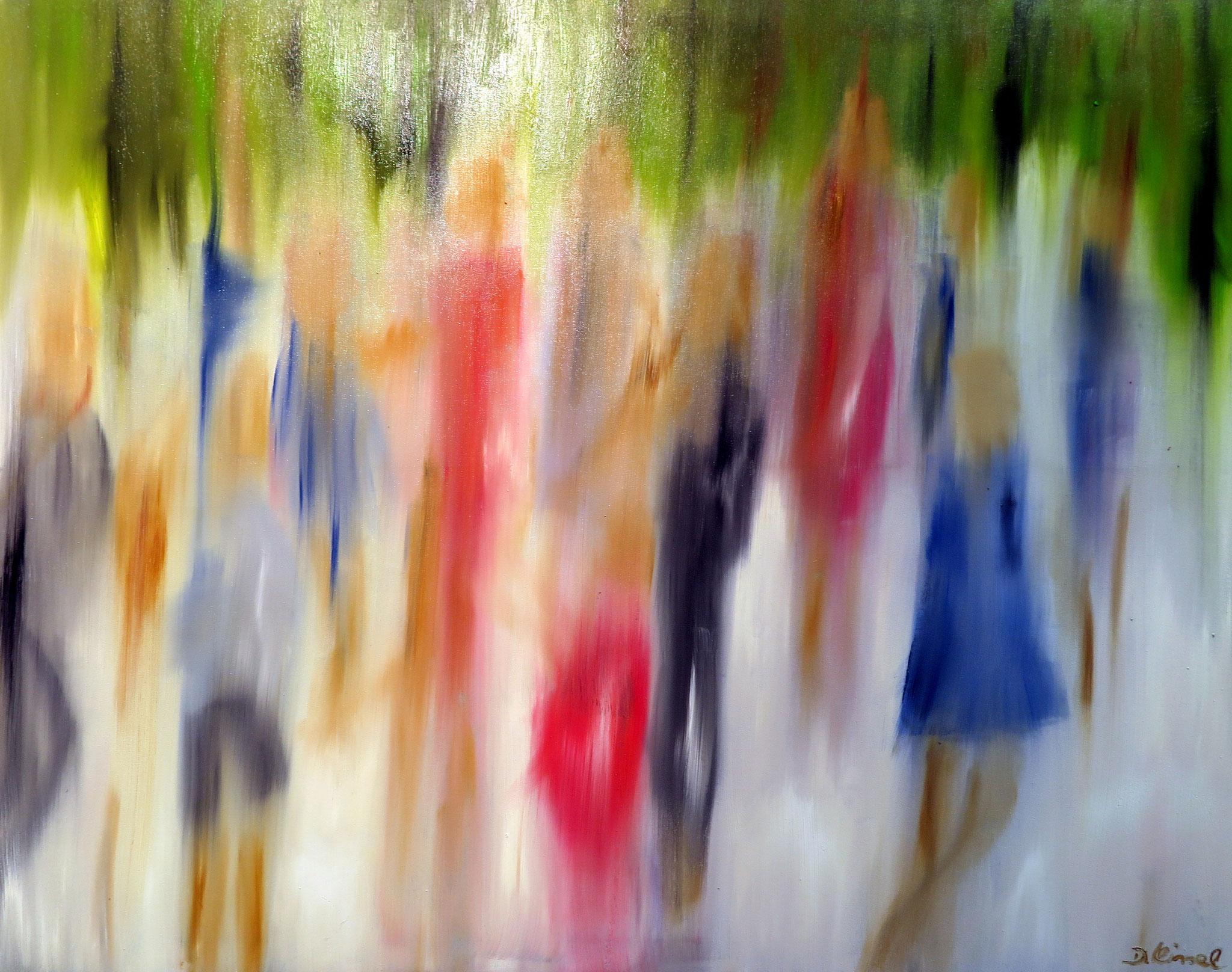 Menschengruppe - nach einem Foto von Gottfried Römer - 80 x 100 cm