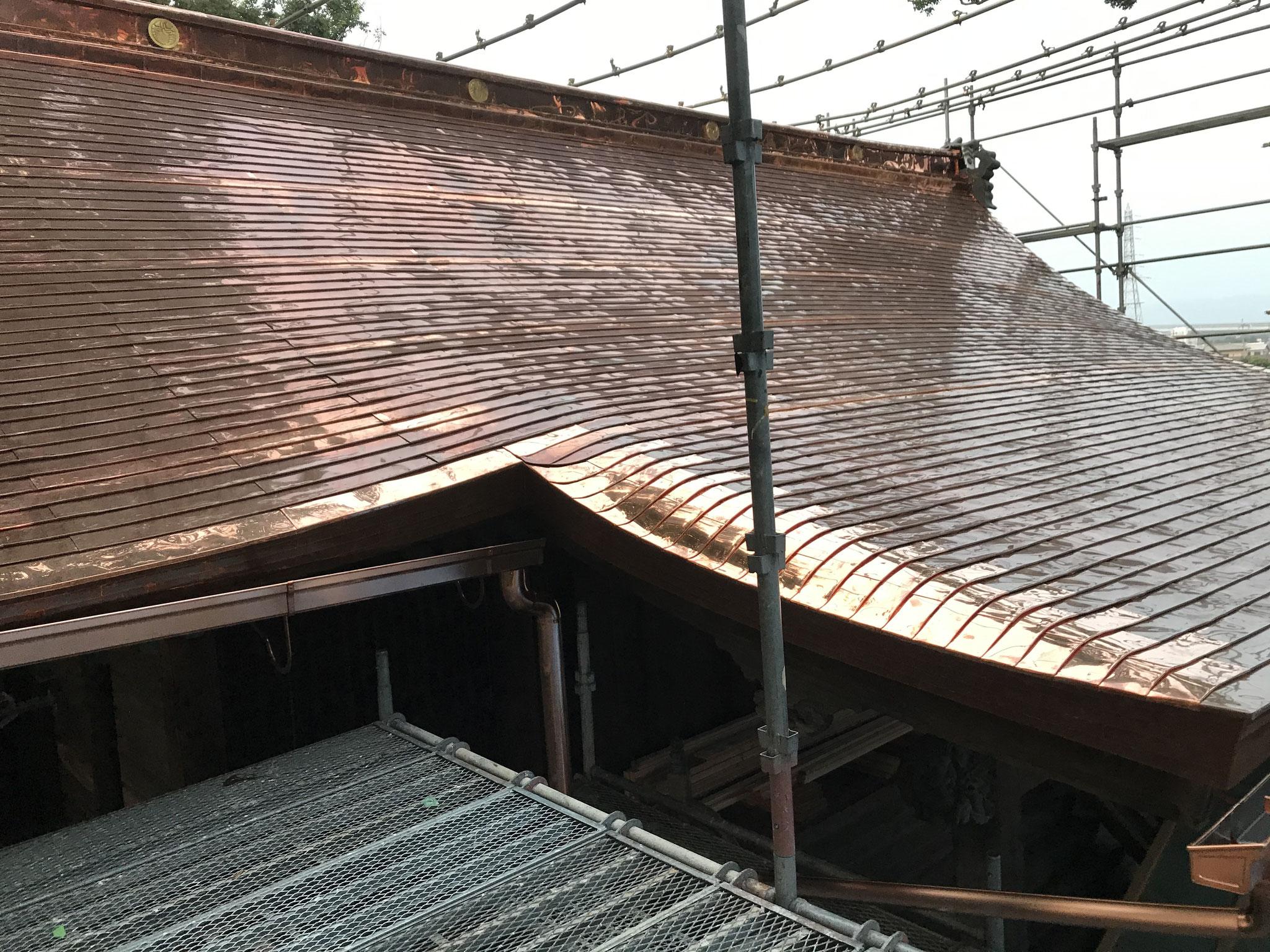 銅板屋根の完成