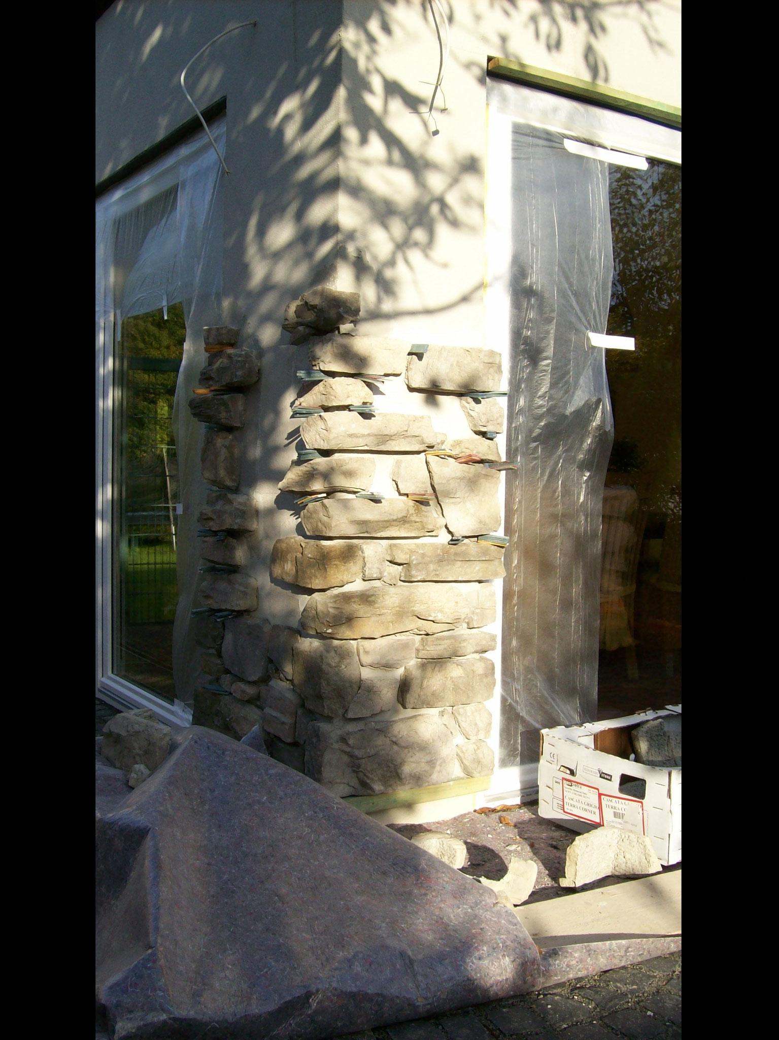 Aufbau Kunststein Außenbereich