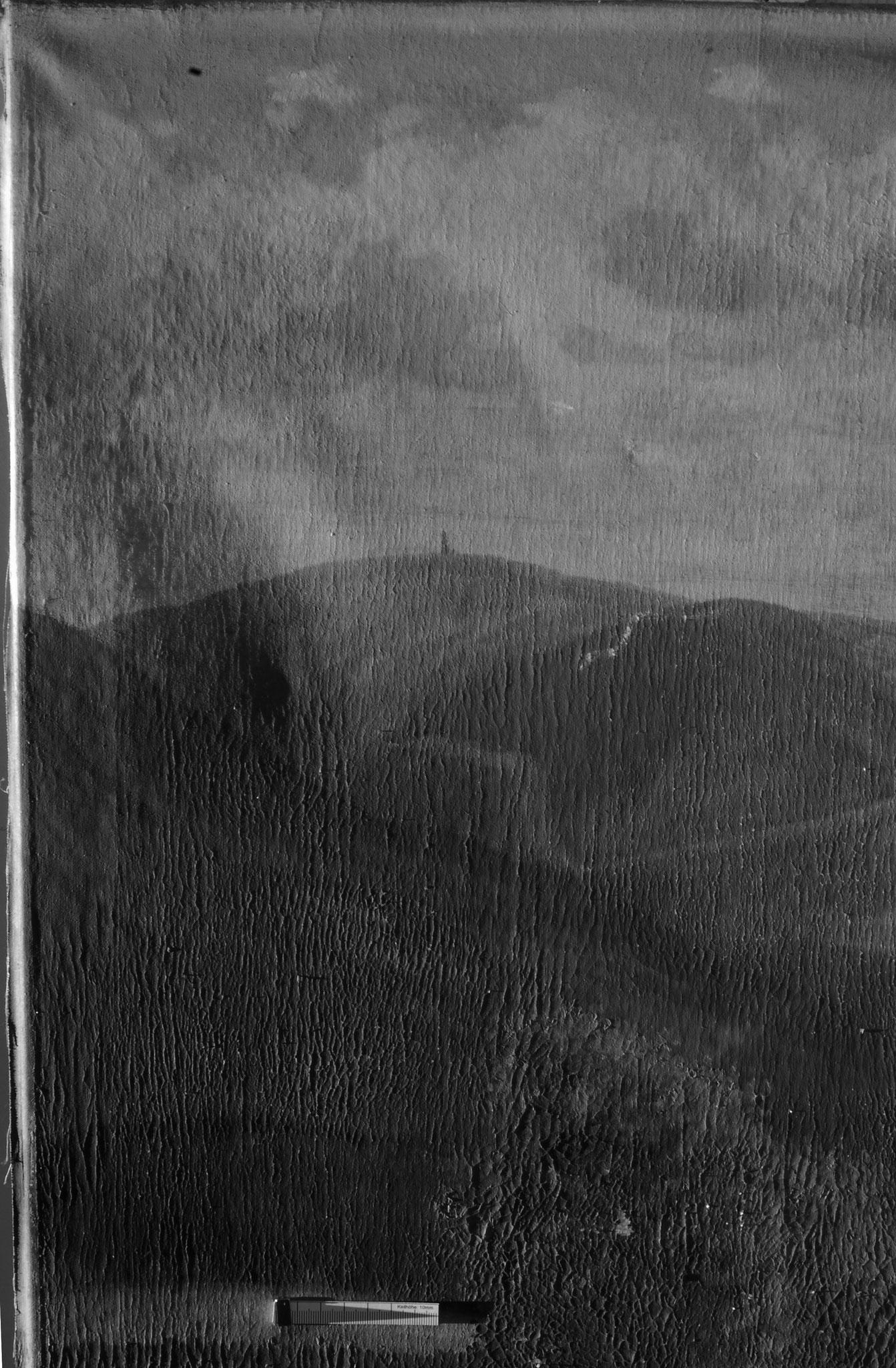 Vorzustand, im Streiflicht erkennbare Deformationen der Leinwand