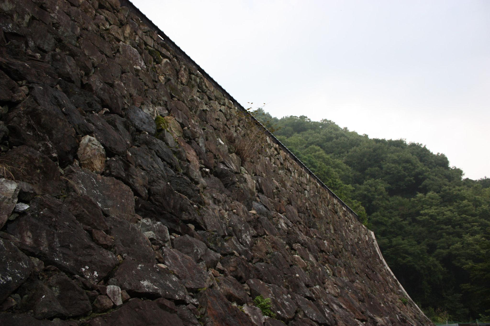 その山腹に城壁を思わせる大石垣が構えられ