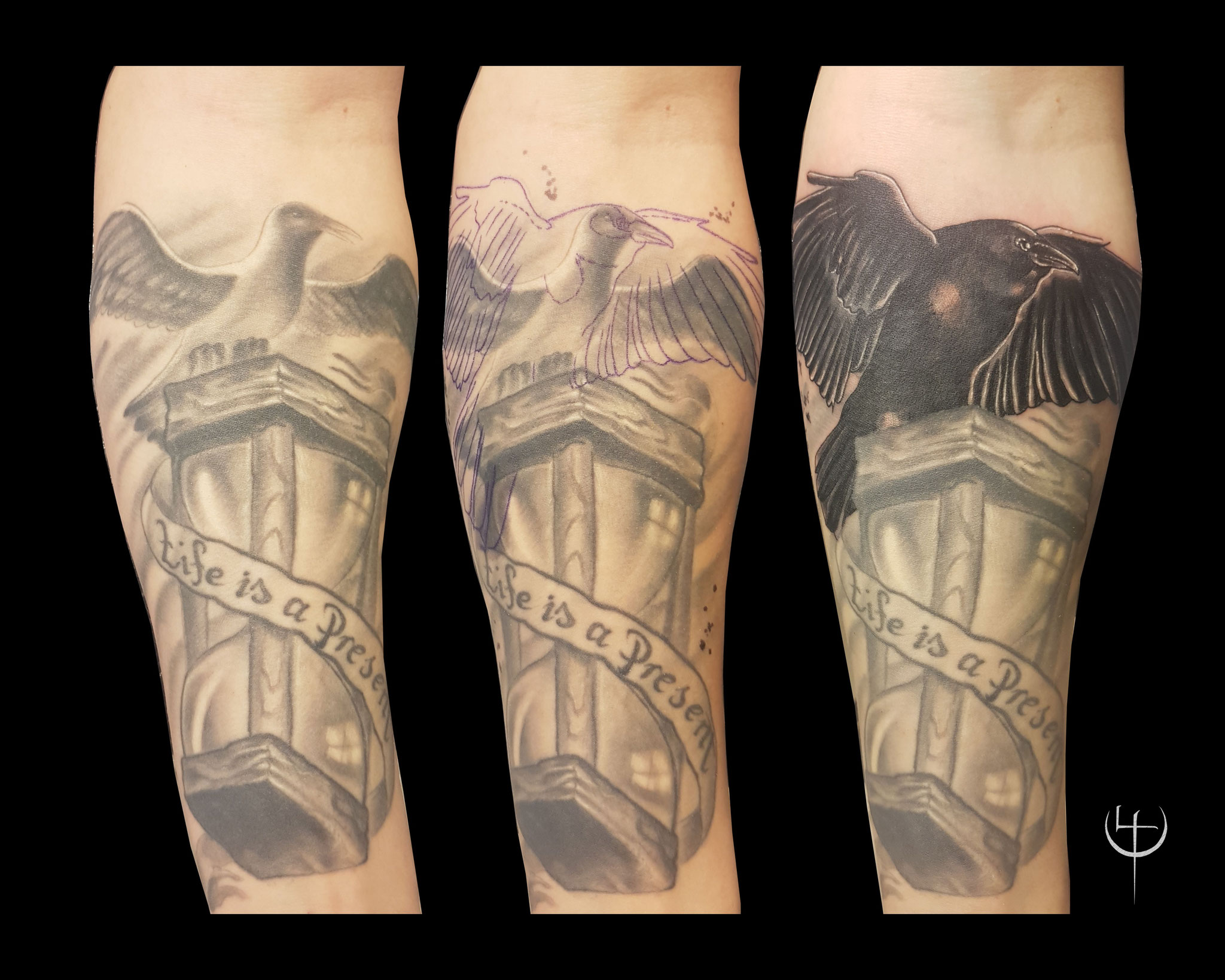 Teil-Cover, Cover-up, Unterarm, Raven