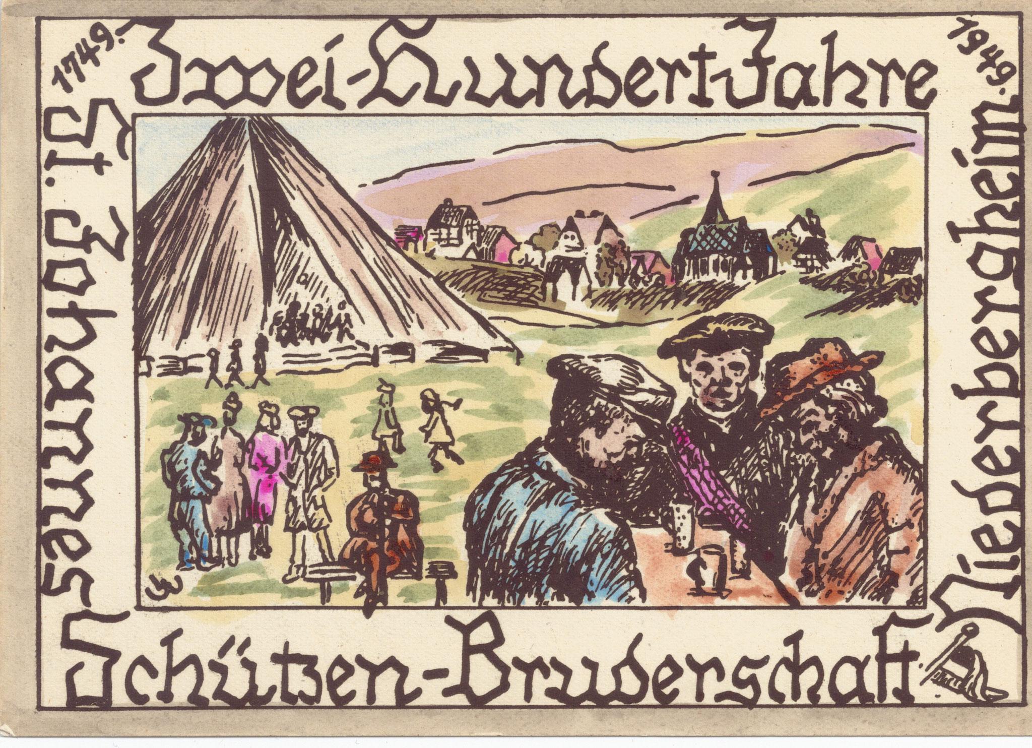 Ansichtskarte zum Jubiläum der Schützenbruderschaft 1949