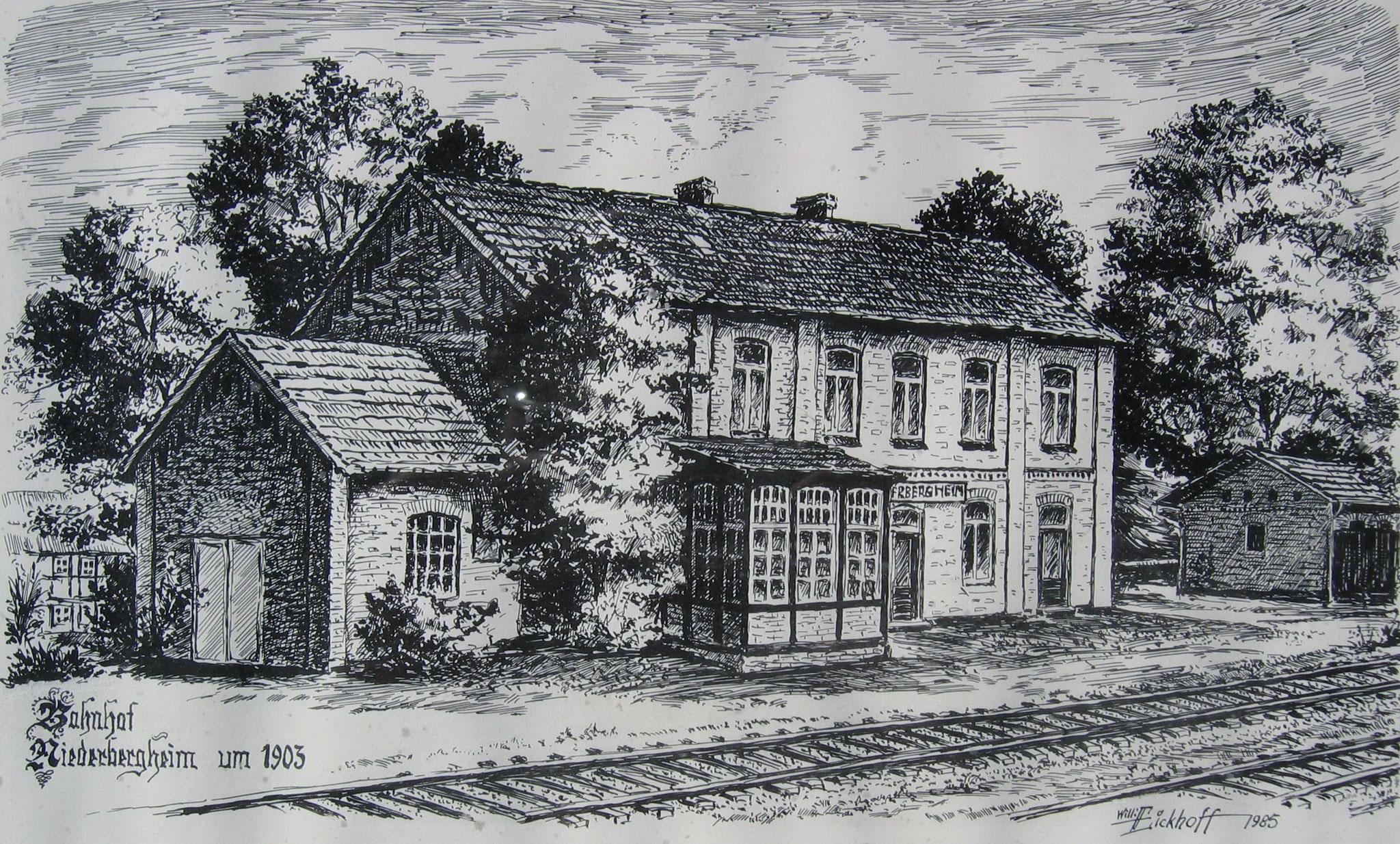 Der Bahnhof der WLE um 1903 - Zeichnung von Willy Eickhoff