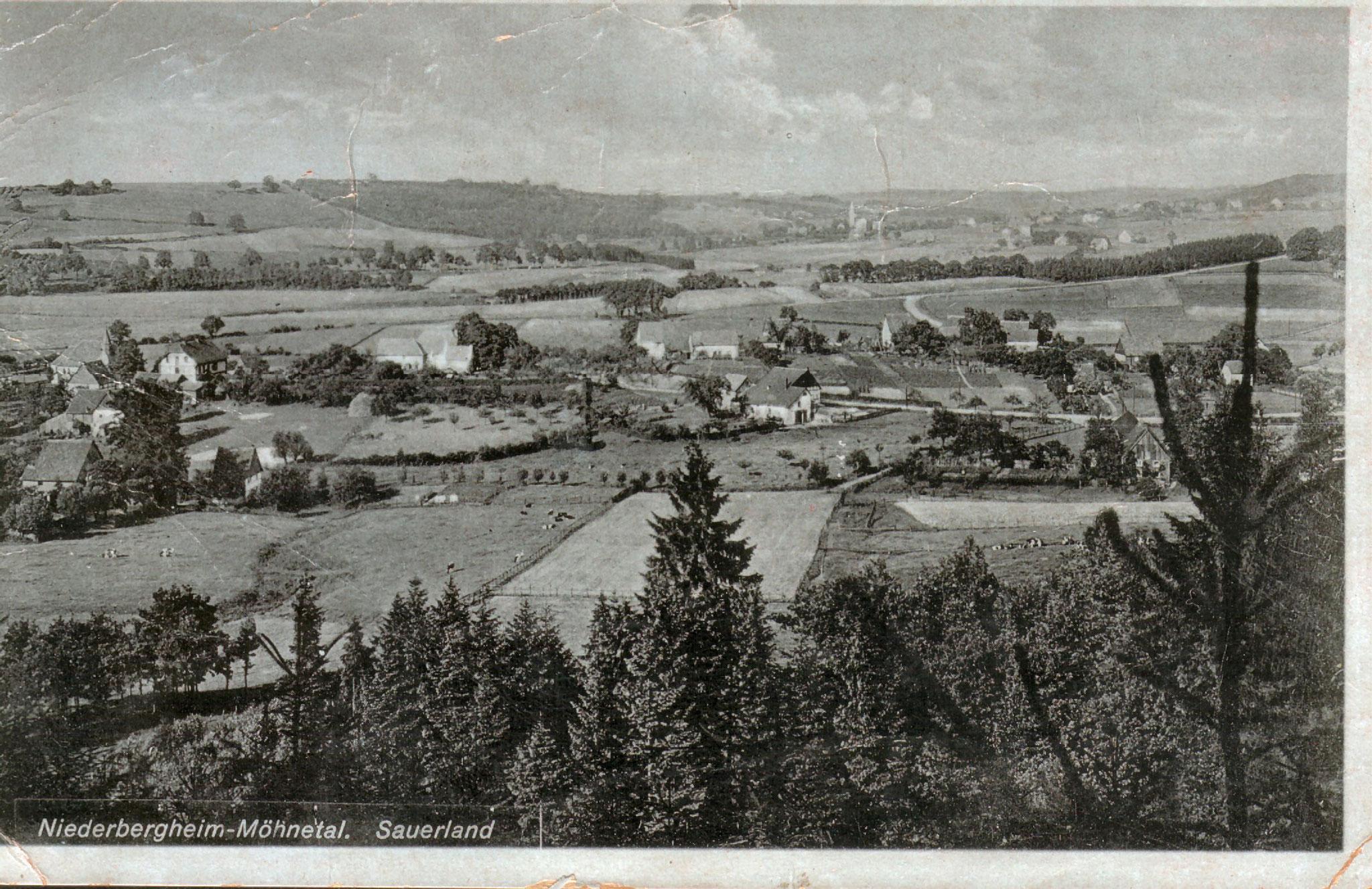 Alte Ansichtskarte mit Blick auf das Dorf