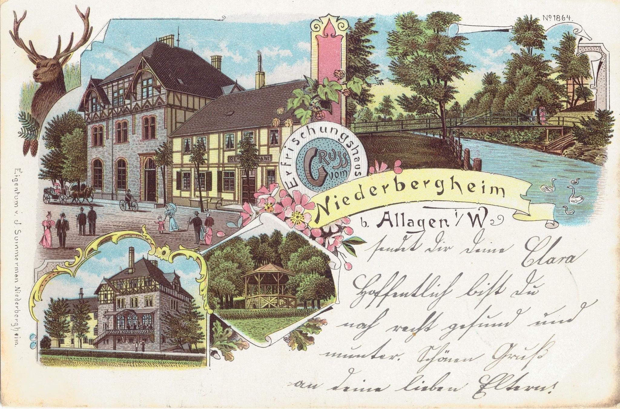 Eine Lithografie - Um 1900 älteste bekannte Niederbergheimer Ansichtskarte