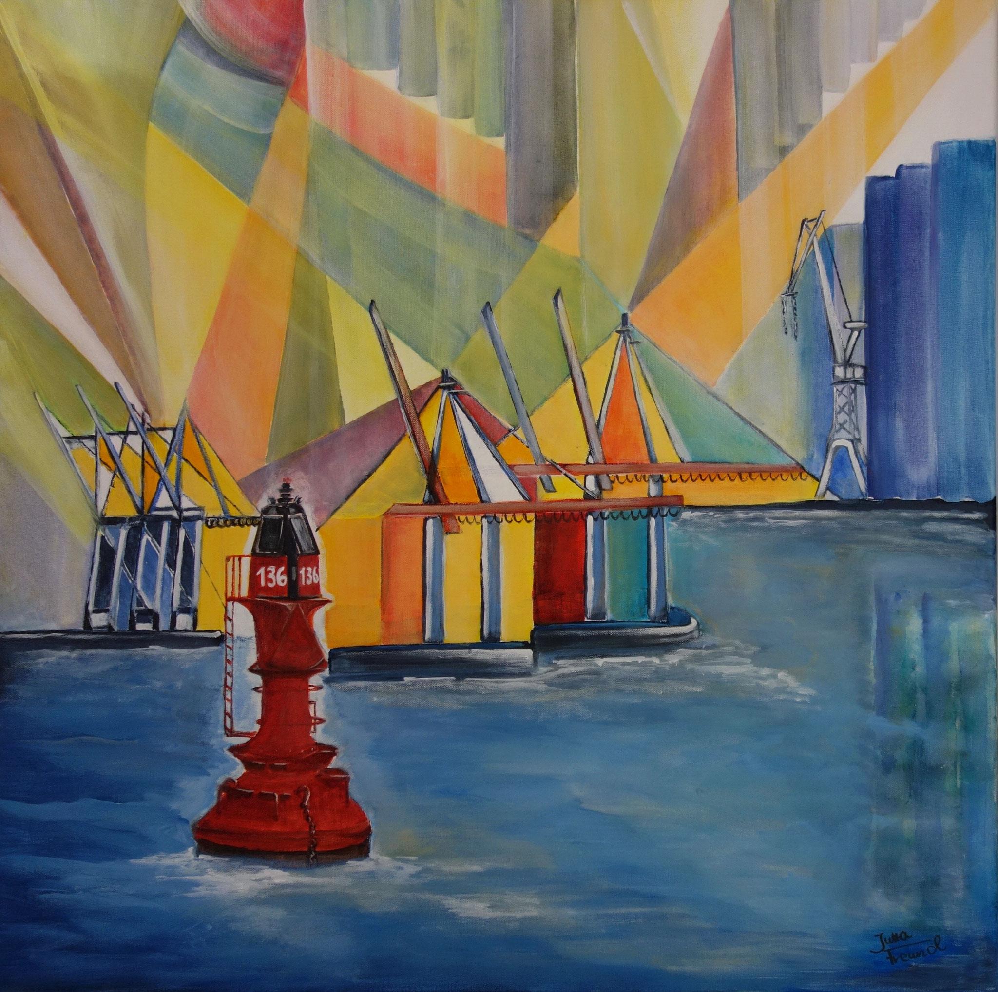 HafenPower - Acryl auf Leinwand 70x70 m. weißem Schattenfugen-Rahmen