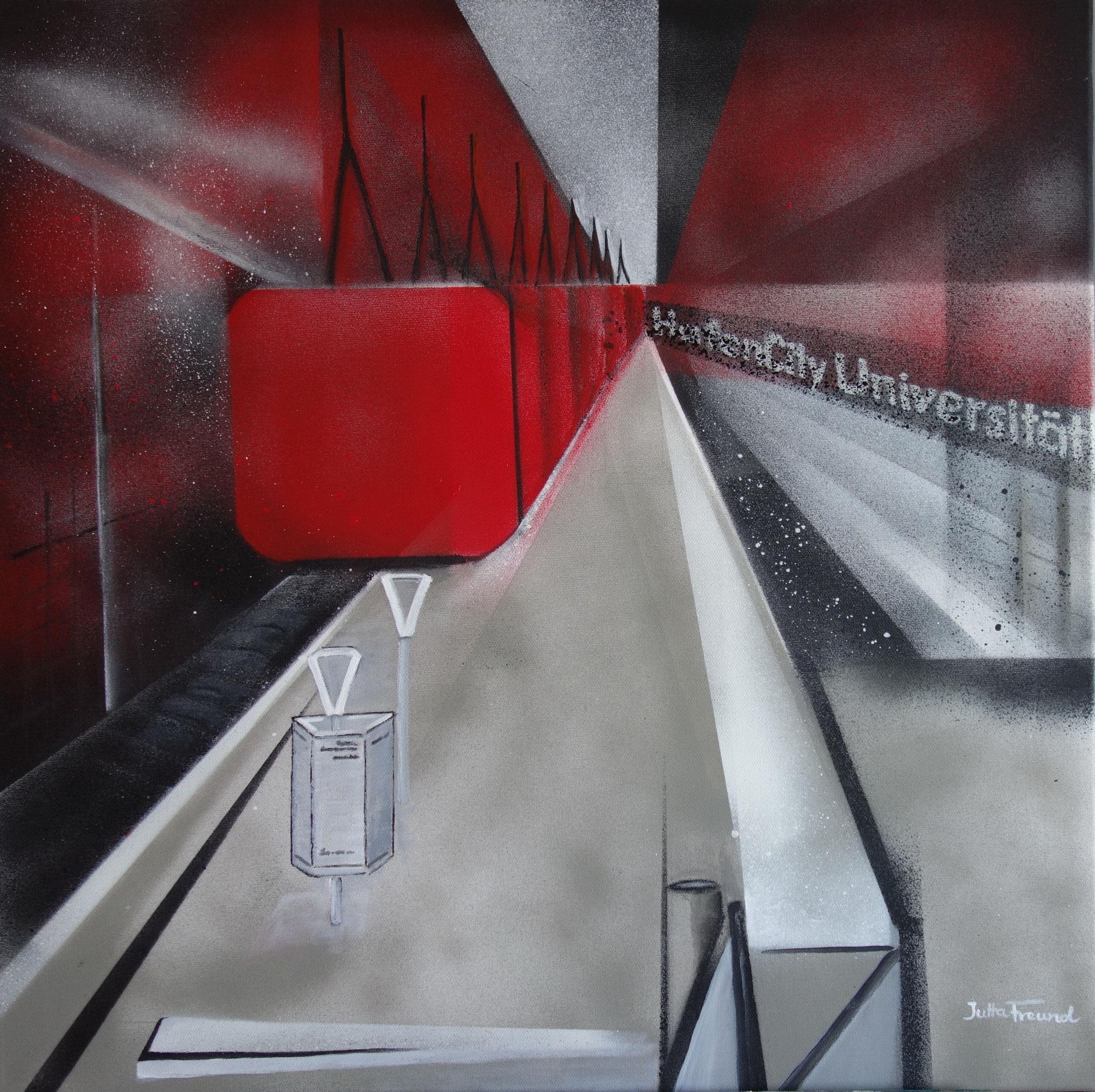 U-BahnStation HafenCity Universität - Sprayacryl 70x70 m. schwarzem Schattenfugen-Rahmen