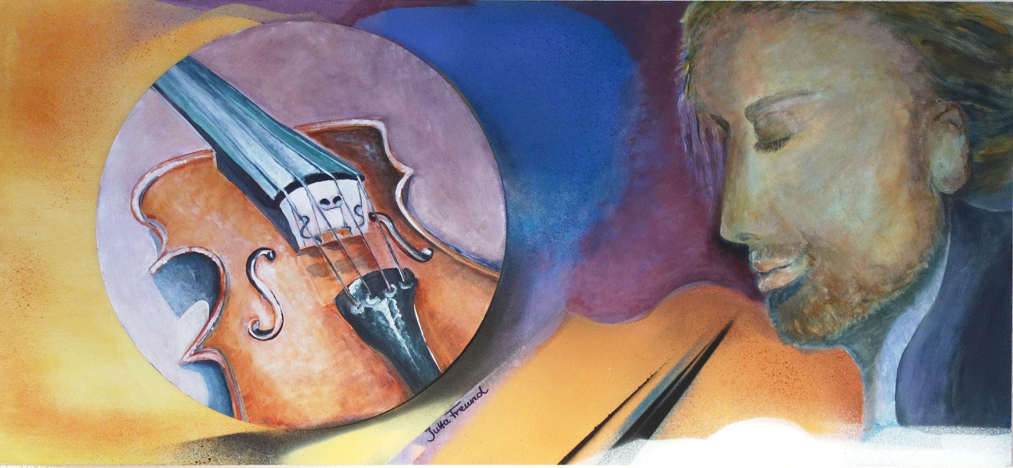Der Geiger - Collage: Acryl und Sprayacryl auf Sperrholzplatte 100x45