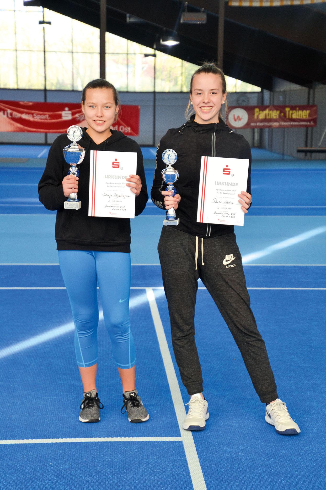 U18: (v.li.) Stadtmeisterin Sonja Zhiyenbayeva (TSC Münster) und Paula Merlin (THC)