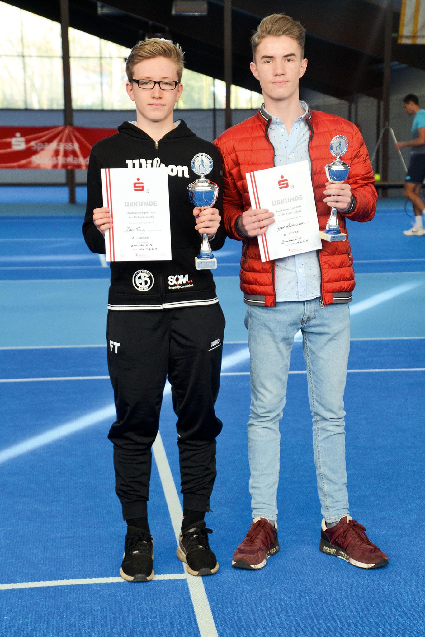 U16: (v.li.) Stadtmeister Felix Timm (1. TC Hiltrup) und Joost Austermann (TC St. Mauritz)