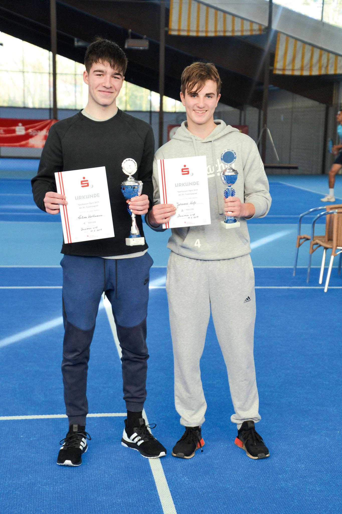 U18: (v.li.) Stadtmeister Elias Kuhlmann (TC Union) und Johannes Hofer (TC Union)