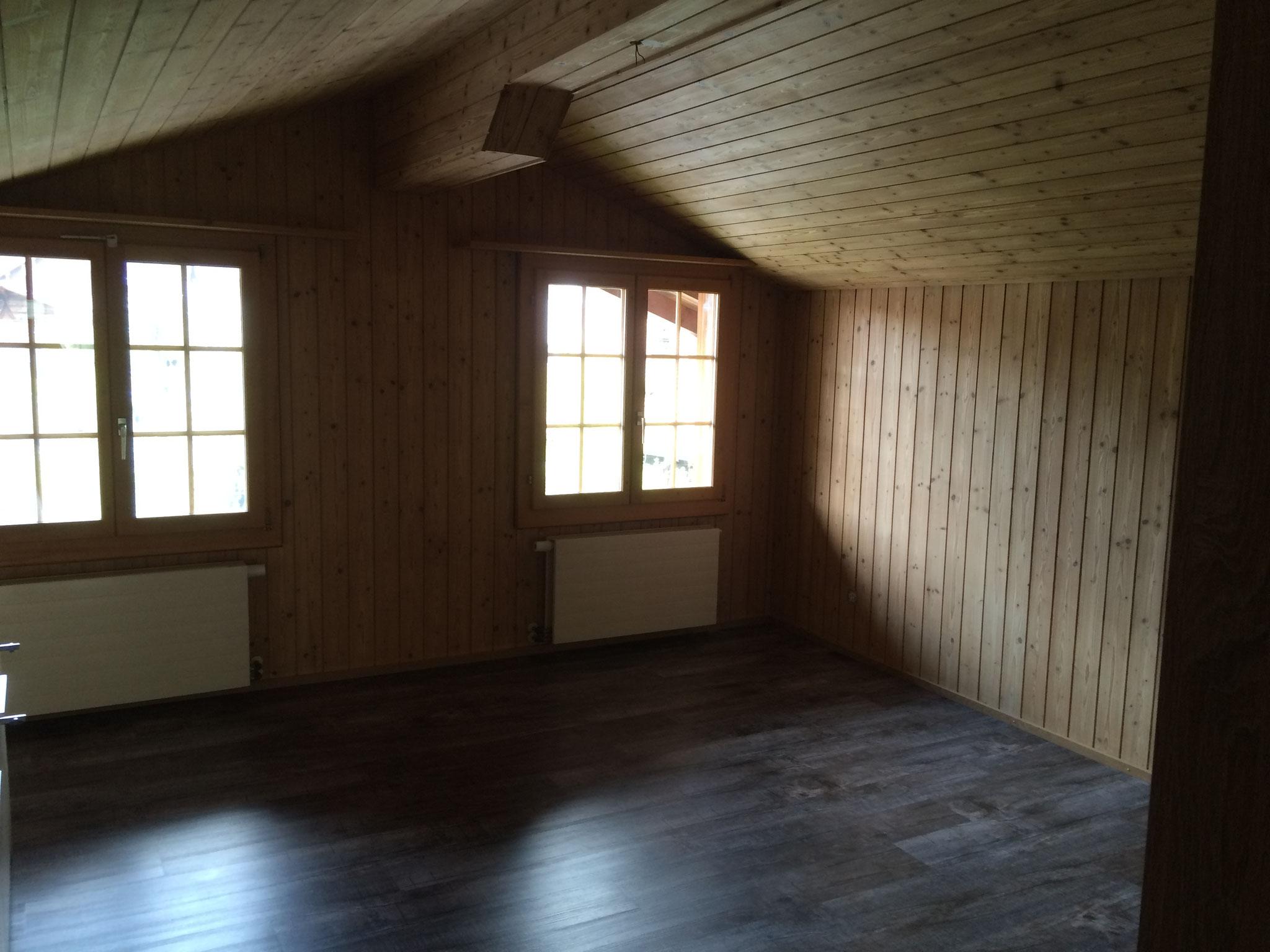 Bei diesen Sandstrahlarbeiten an Decke & Wänden war das Haus bewohnbar und durch eine Staubschutzwand und eine Filteranlage vor Staub geschützt.