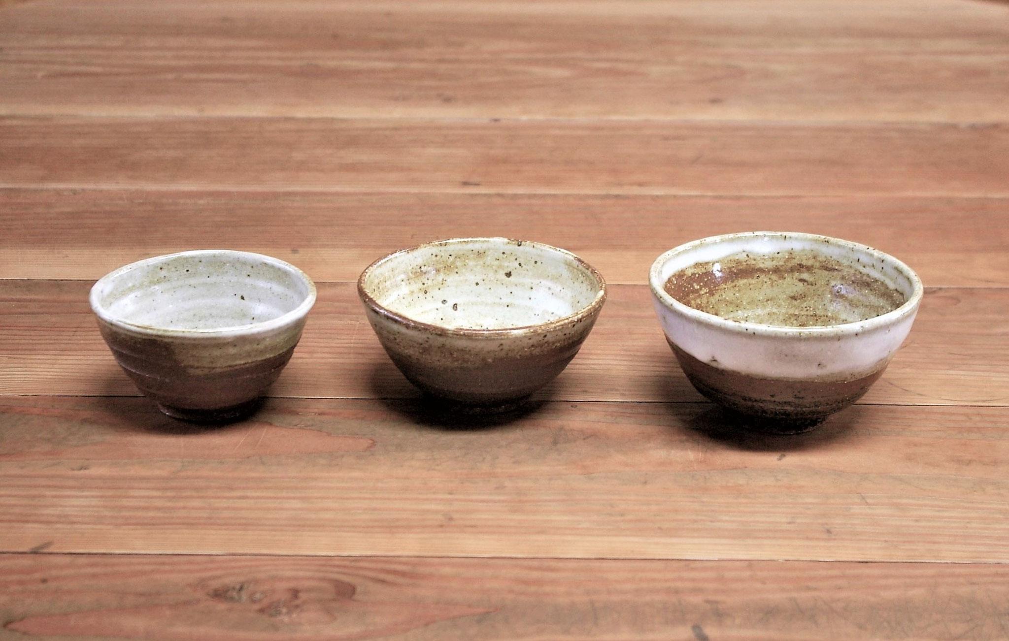 手に馴染むご茶碗(大、中、小) 施釉:内側に白マット、外側に薄い黄瀬戸