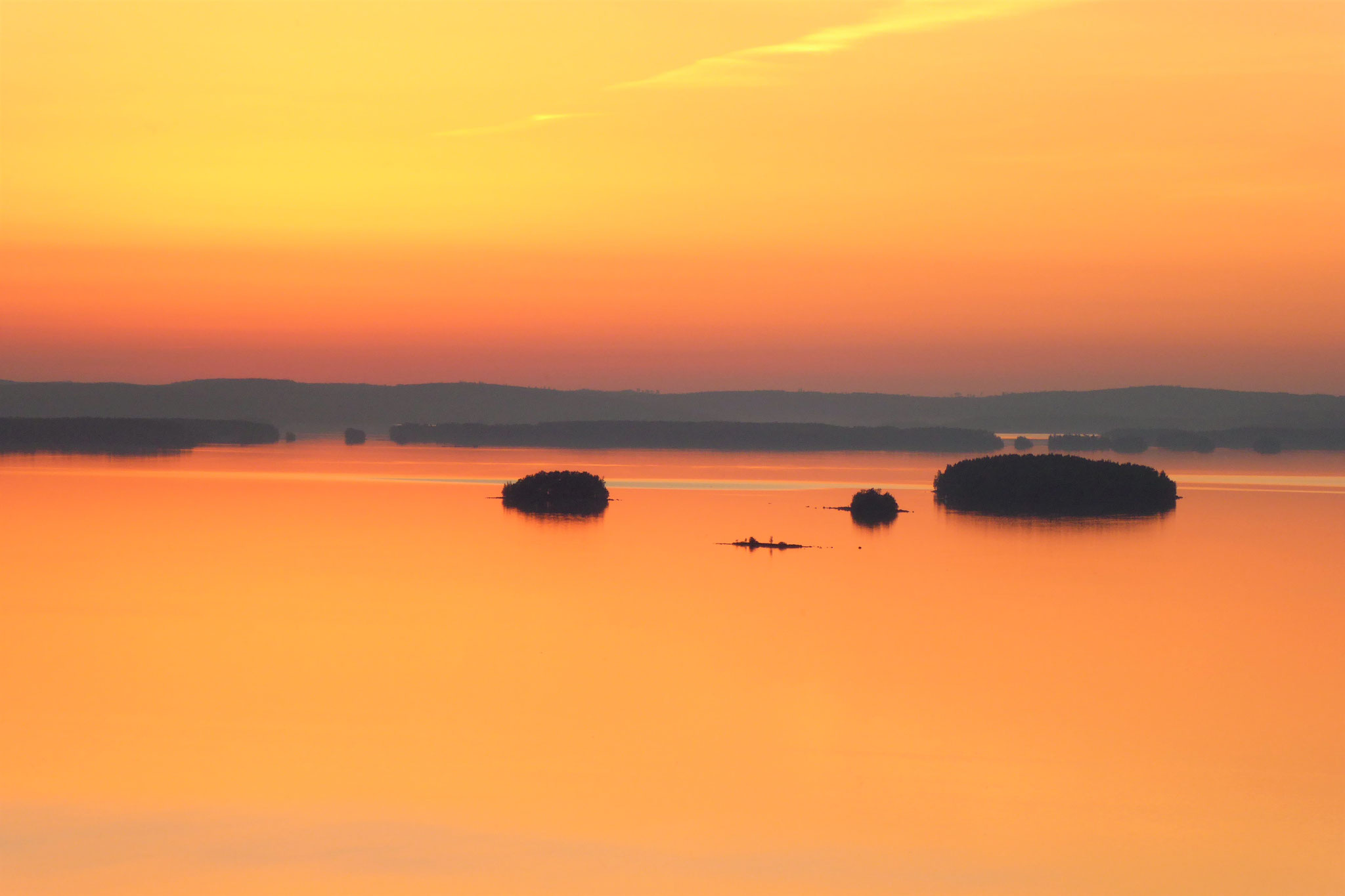 Finnish summer nights in Lake Päijänne National Park. View from the observation tower, 1.5 km from the log house