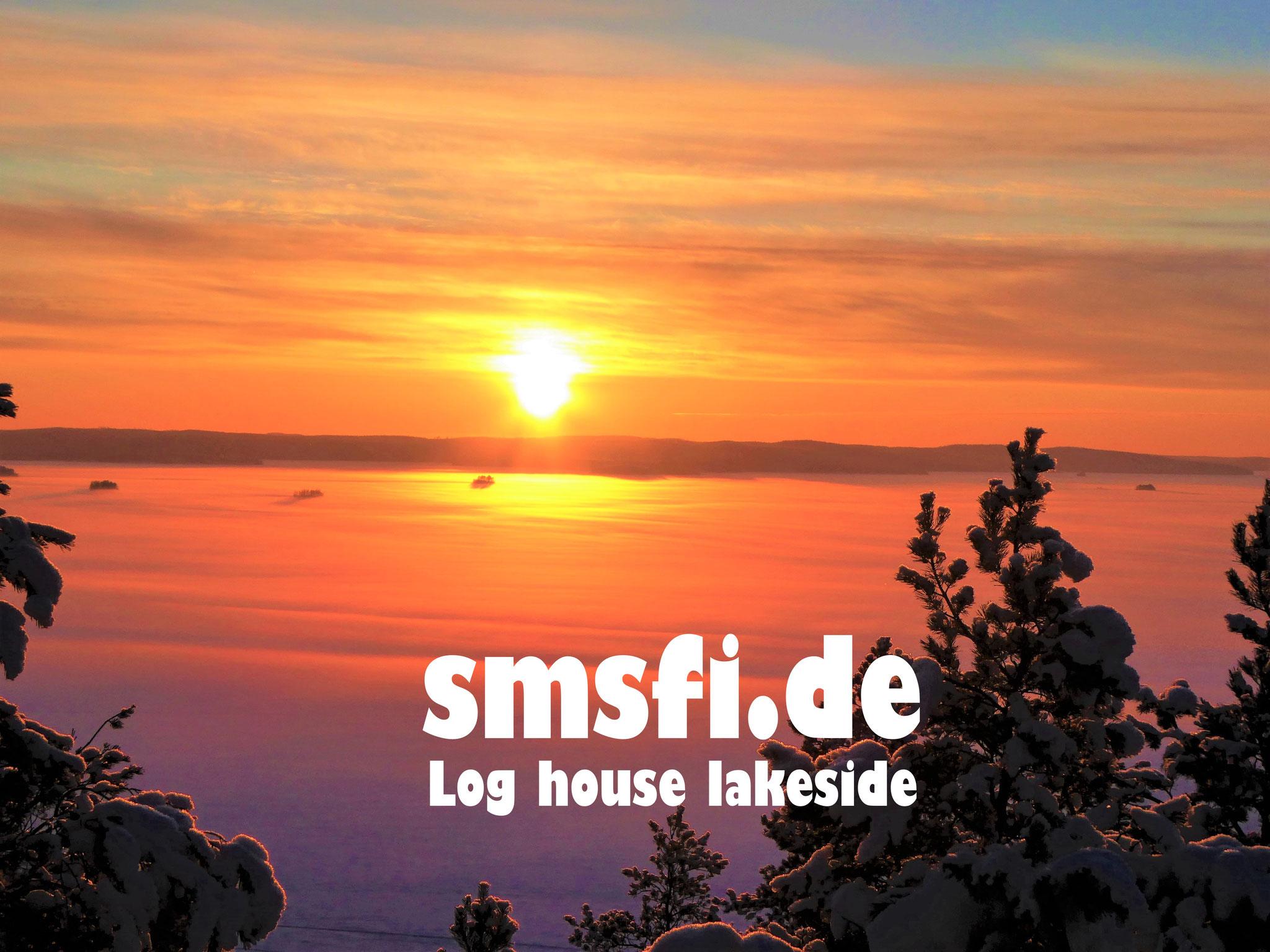"Sunset at Winter Wonderland Lake Päijänne. View from the observation tower 1.5 km from the log house ""Sunny Mökki Sysmä"""