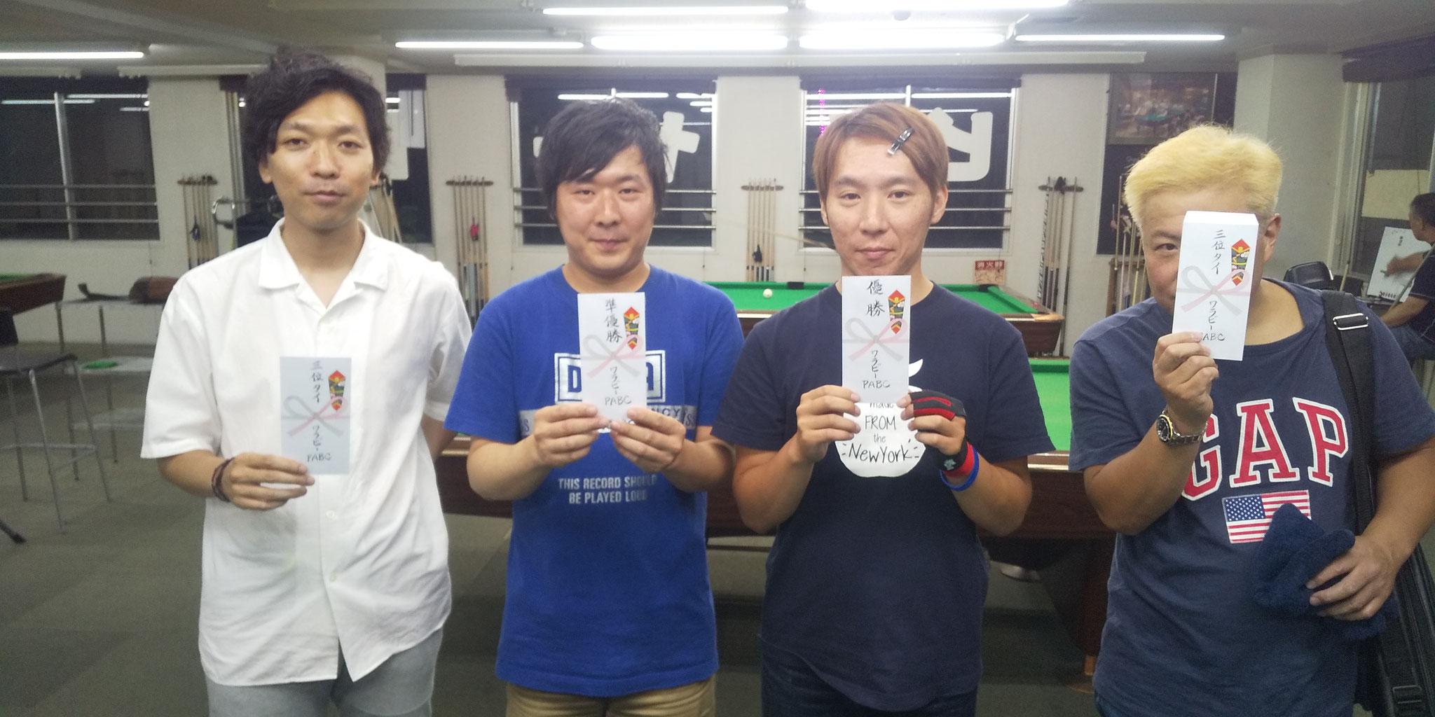 西村さん(3位) 大山sん(2位) 林さん(1位) 川野さん(3位)