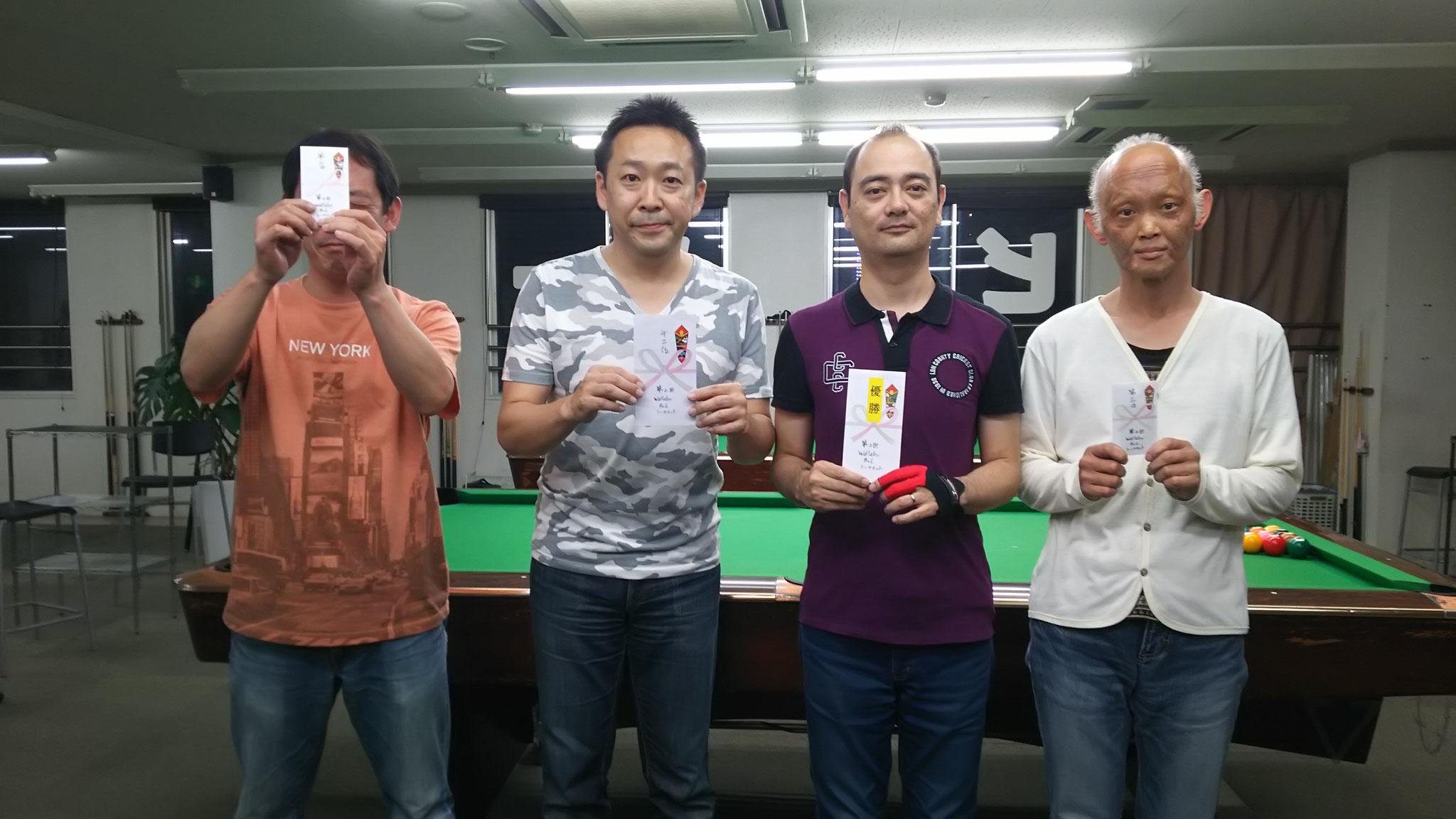 左から 鈴木さん(3位) 藤本さん(準優勝) 冨繁さん(優勝) 岡山さん(3位タイ)