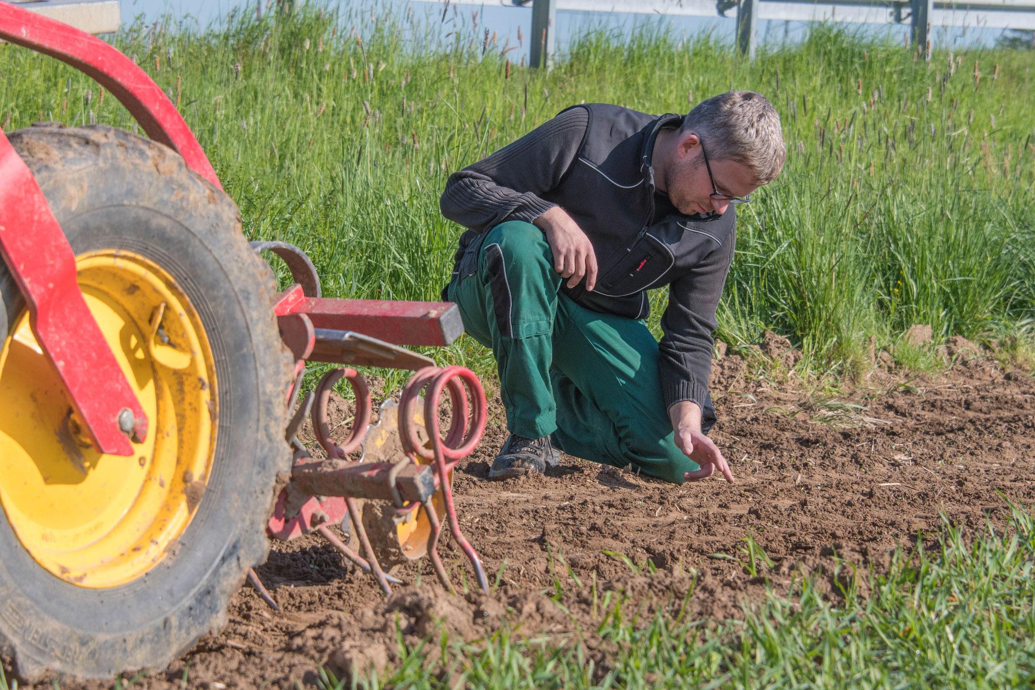 Überprüfung der Saatguttiefe
