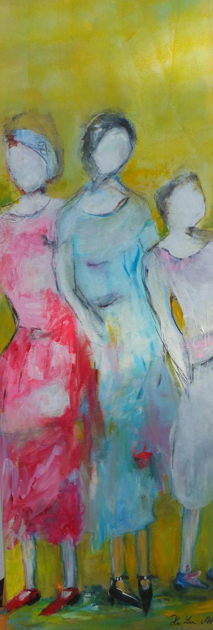 Sommerfrauen  40 x 120 cm  Acryl auf Leinwand