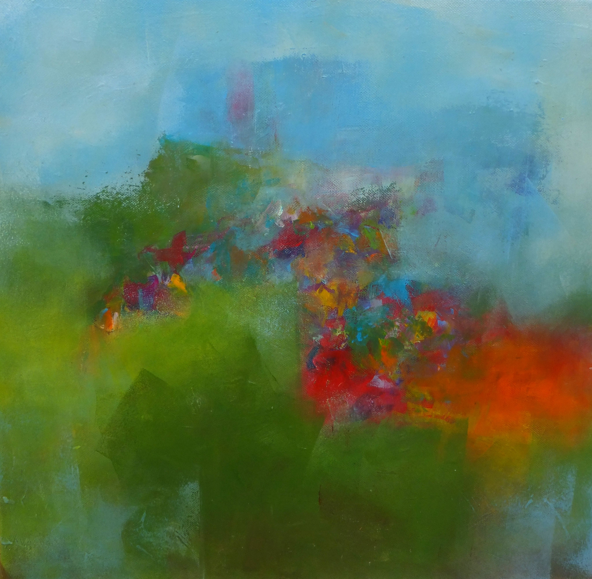Bildtitel: Sommerfrische - Sommer 40 x 40 cm Acryl auf Leinwand  (Vier Jahreszeiten)