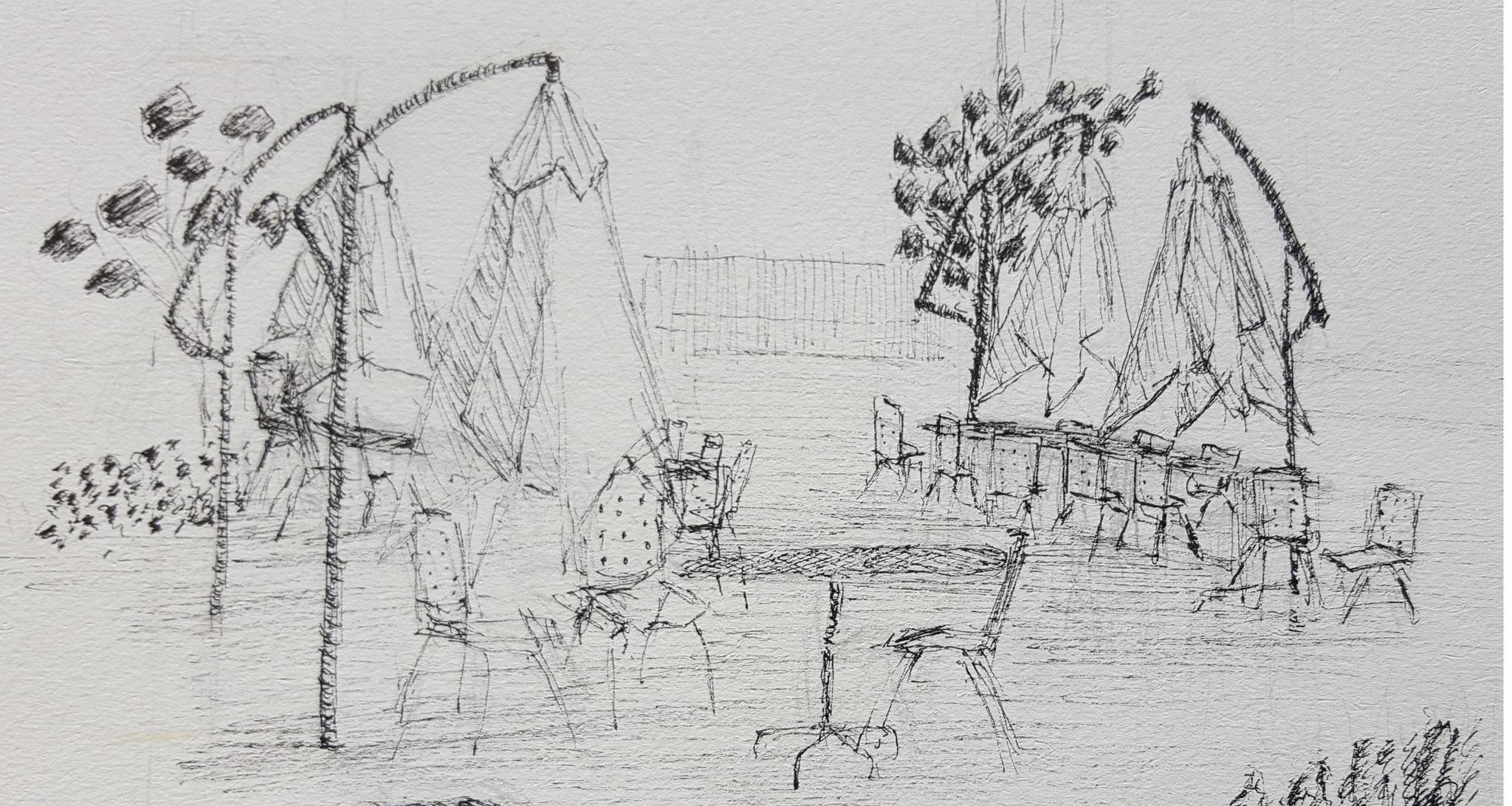 Skizzen von einem Aussensitzplatz