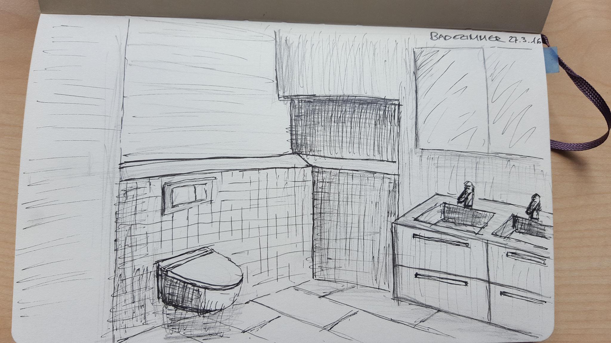 Skizzen von einem Badezimmer