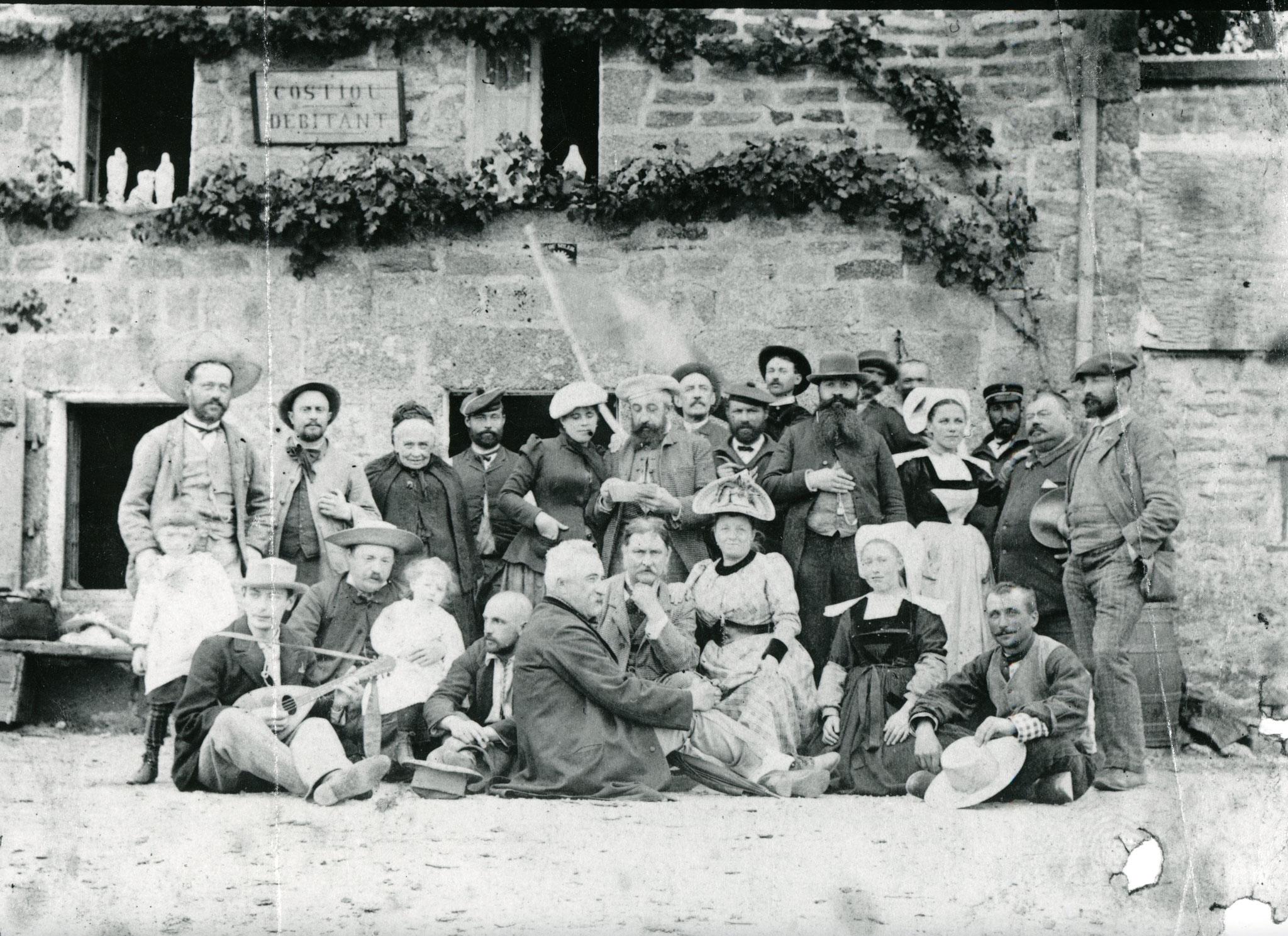 Cuno Amiet mit Künstlerfreunden in Pont Aven, 1892 (untere Reihe, Dritter von links)