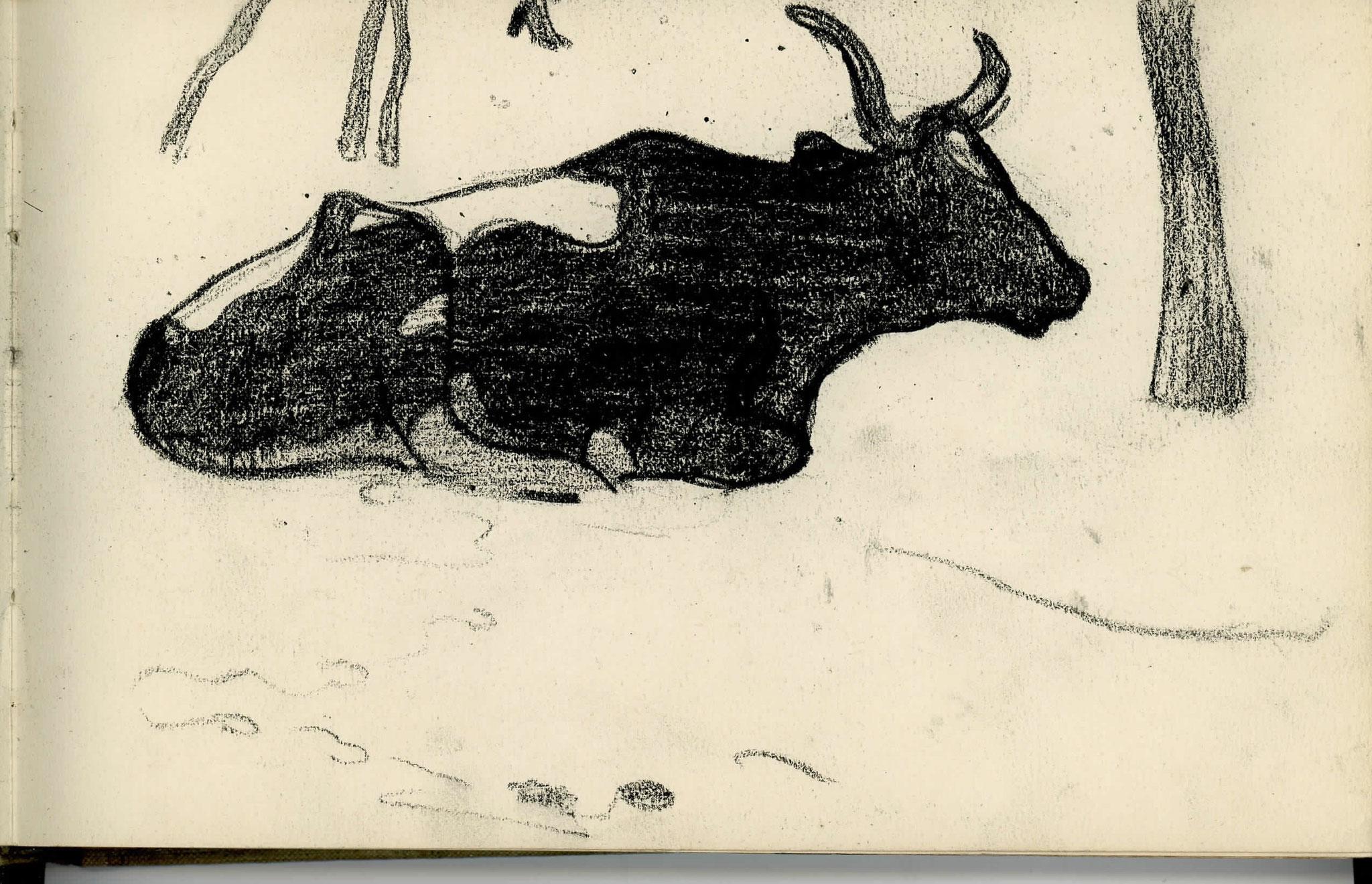 Cuno Amiet, Kuh liegend, Zeichnung, undatiert