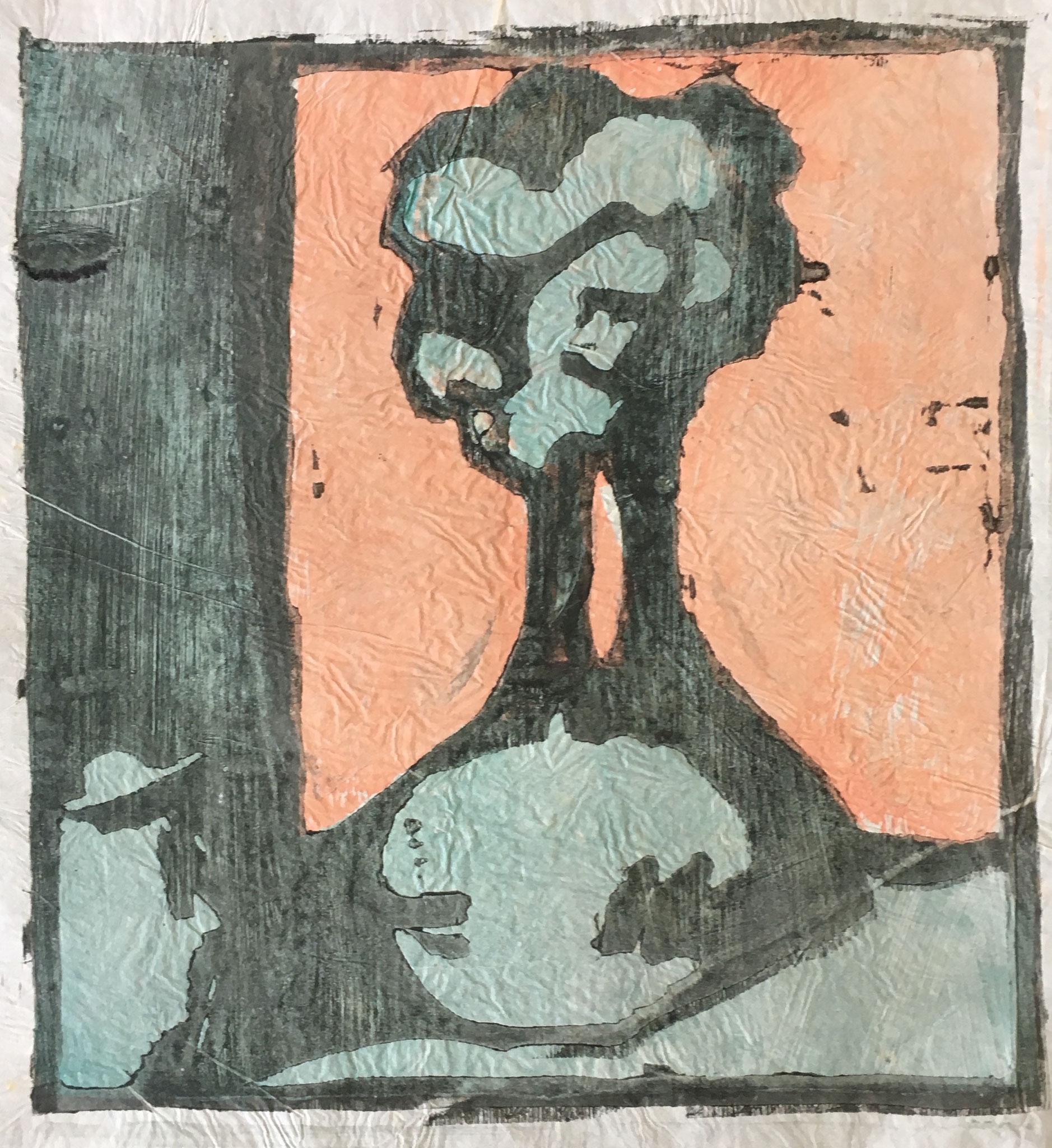 Cuno Amiet, Vase mit Blumen, Japanpapier, Farbholzschnitt, 1908