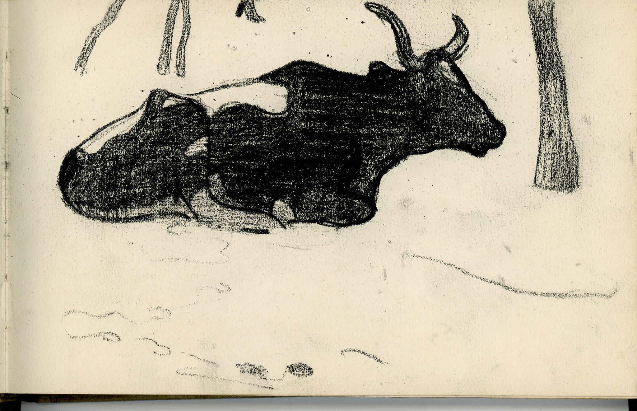 Cuno Amiet, Cow Lying Down, drawing, undated