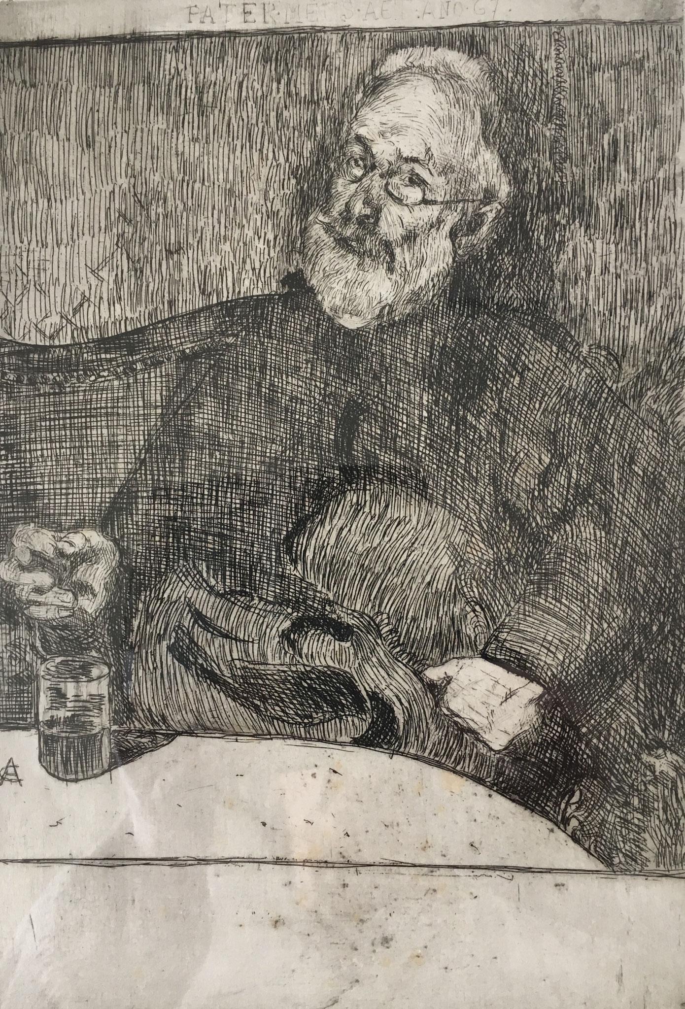 Cuno Amiet, Vater Ignaz Amiet, Radierung, 1894