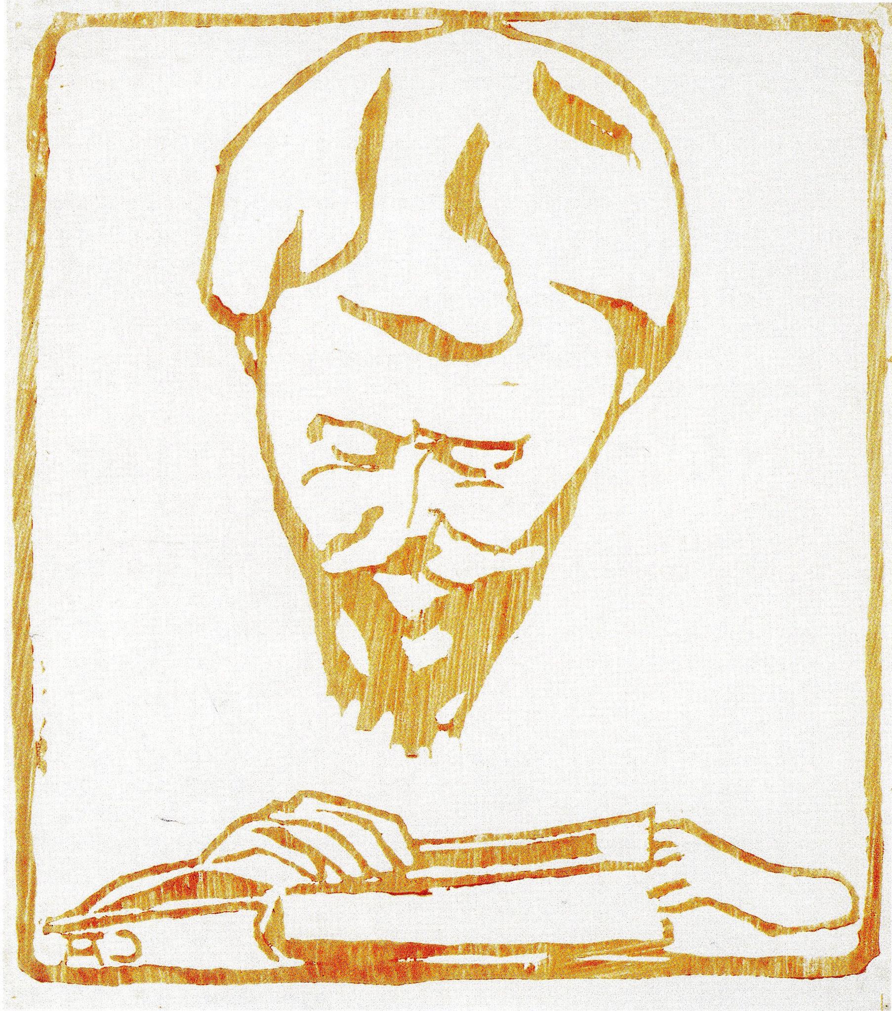Cuno Amiet, Giovanni Giacometti beim Lesen, Farbholzschnitt, 1904