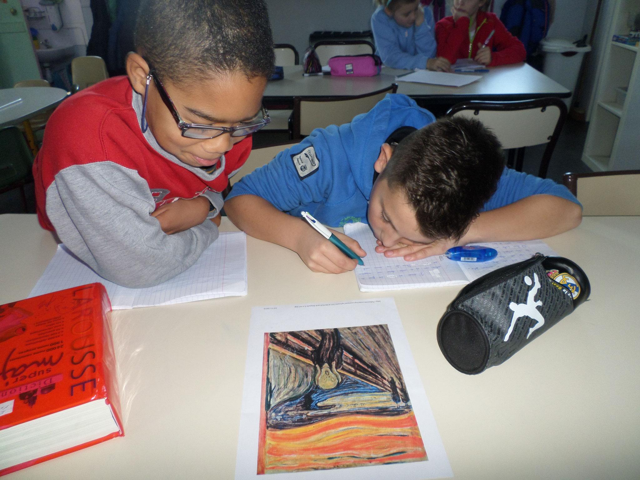 """Production d'écrit à partir de l'oeuvre """"Le cri"""" d'Edvard Munch"""