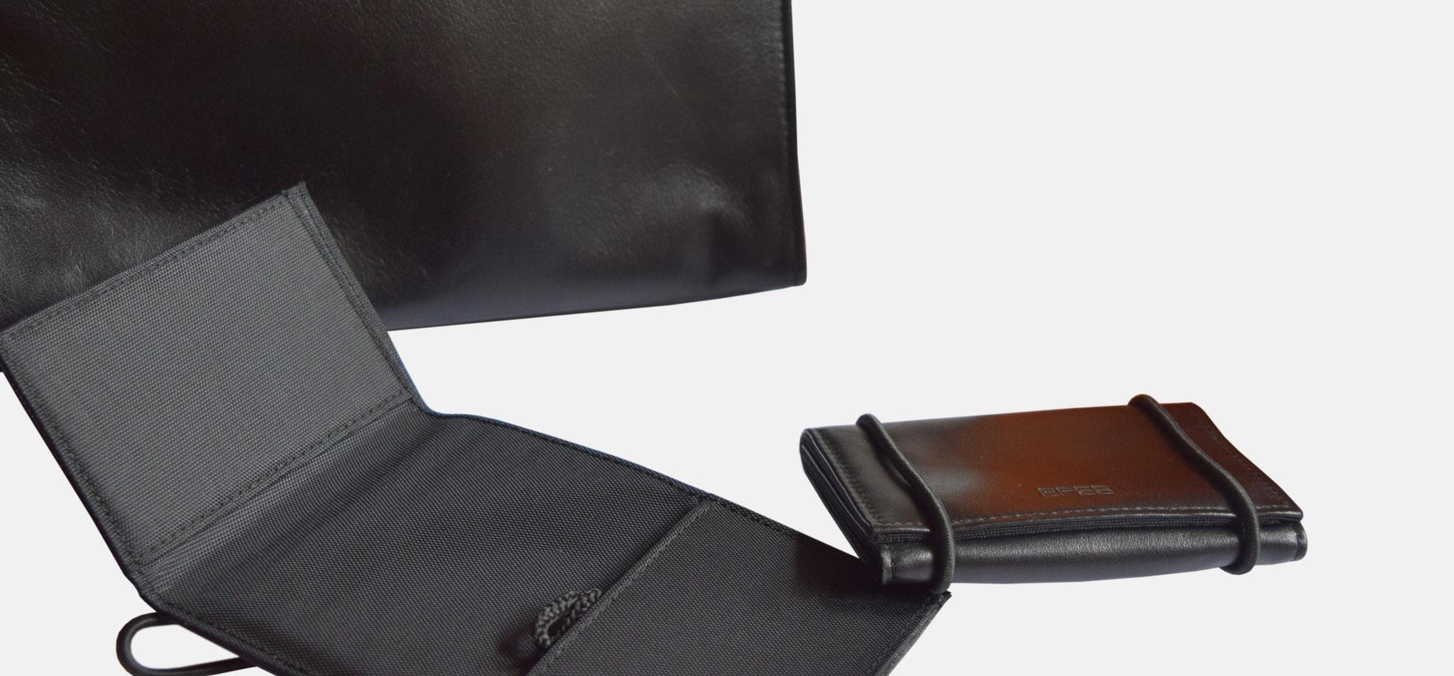 BREE | kleintaschenserie poco, leder und nylon, verschluss via gummiband – infragrau, gute gestaltung